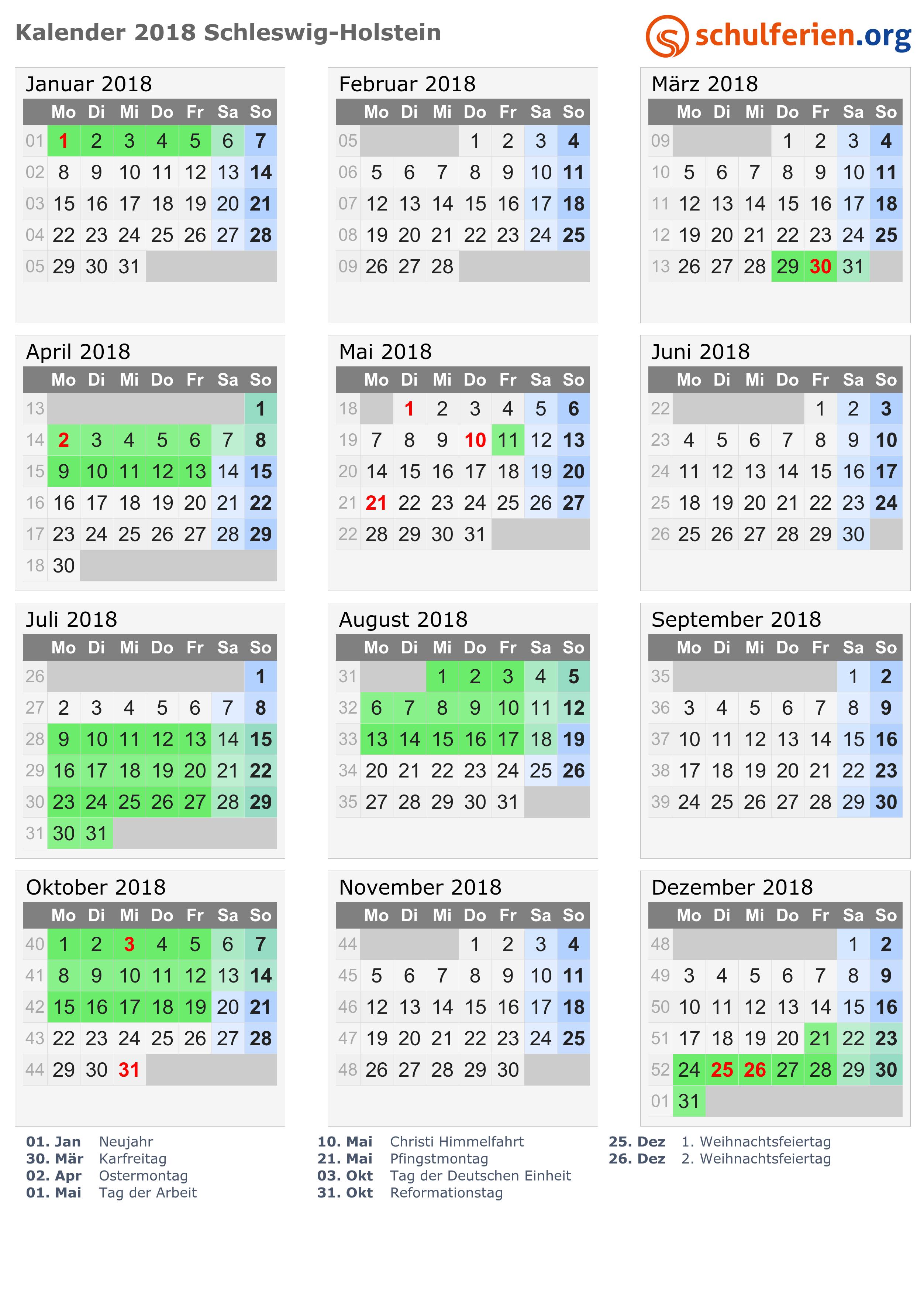 Kalender 2018 Ferien Schleswig Holstein Feiertage