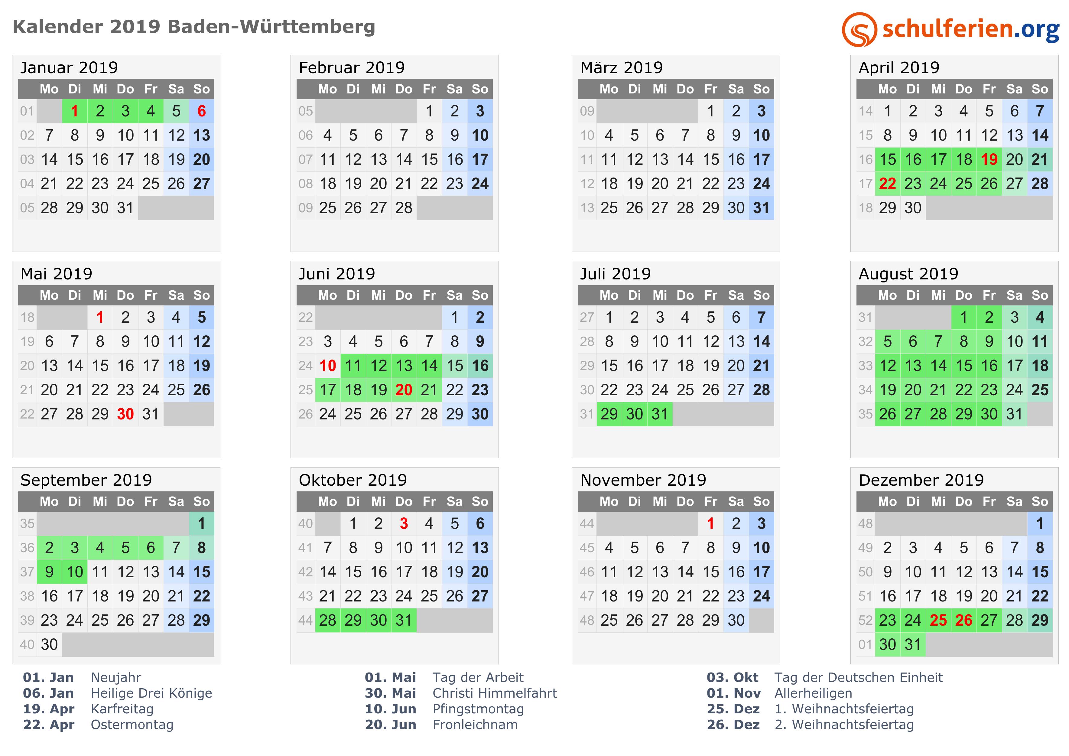 wann sind pfingstferien in baden-württemberg 2019