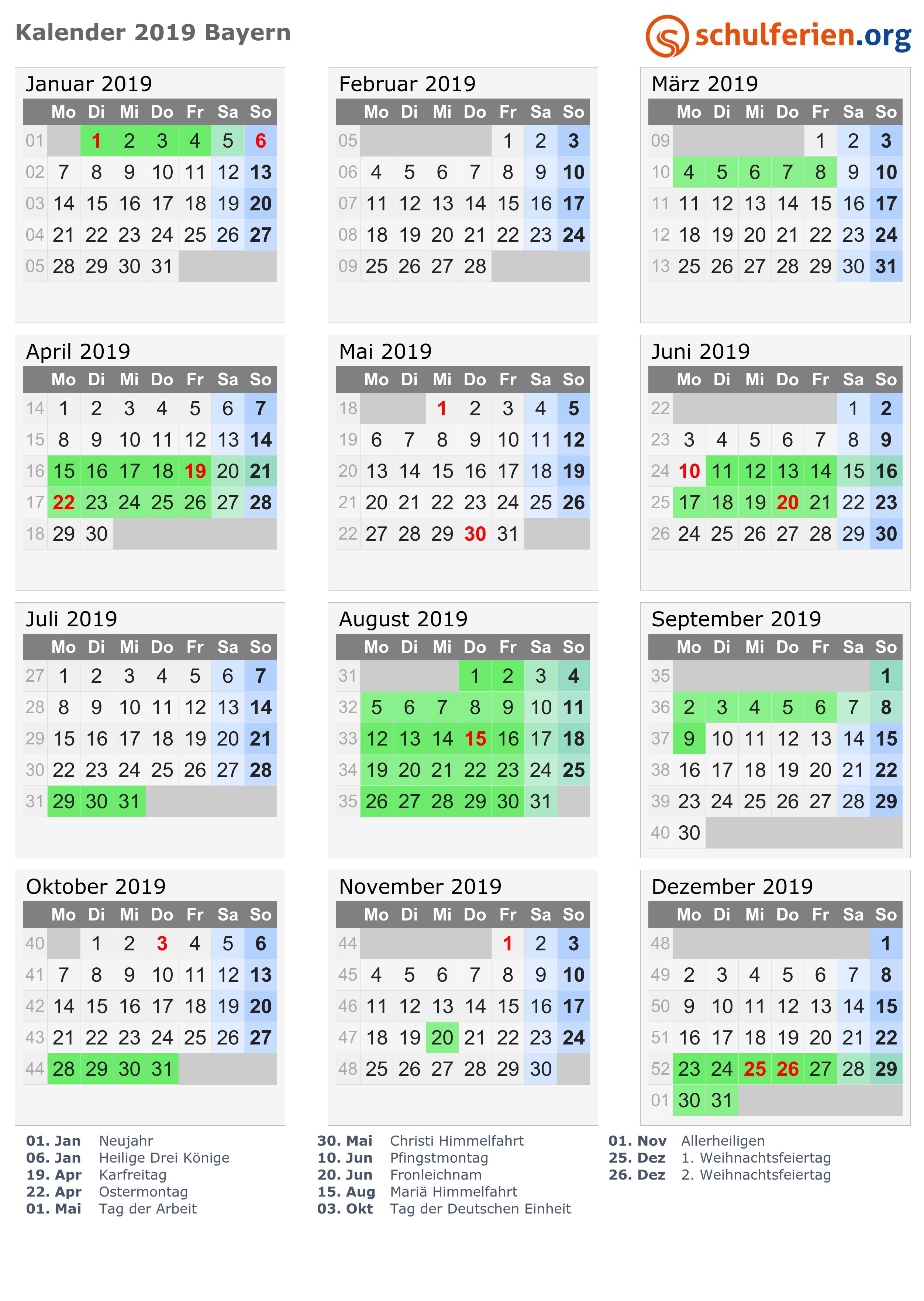 Weihnachten 2019 Nrw.Kalender 2019 Ferien Bayern Feiertage