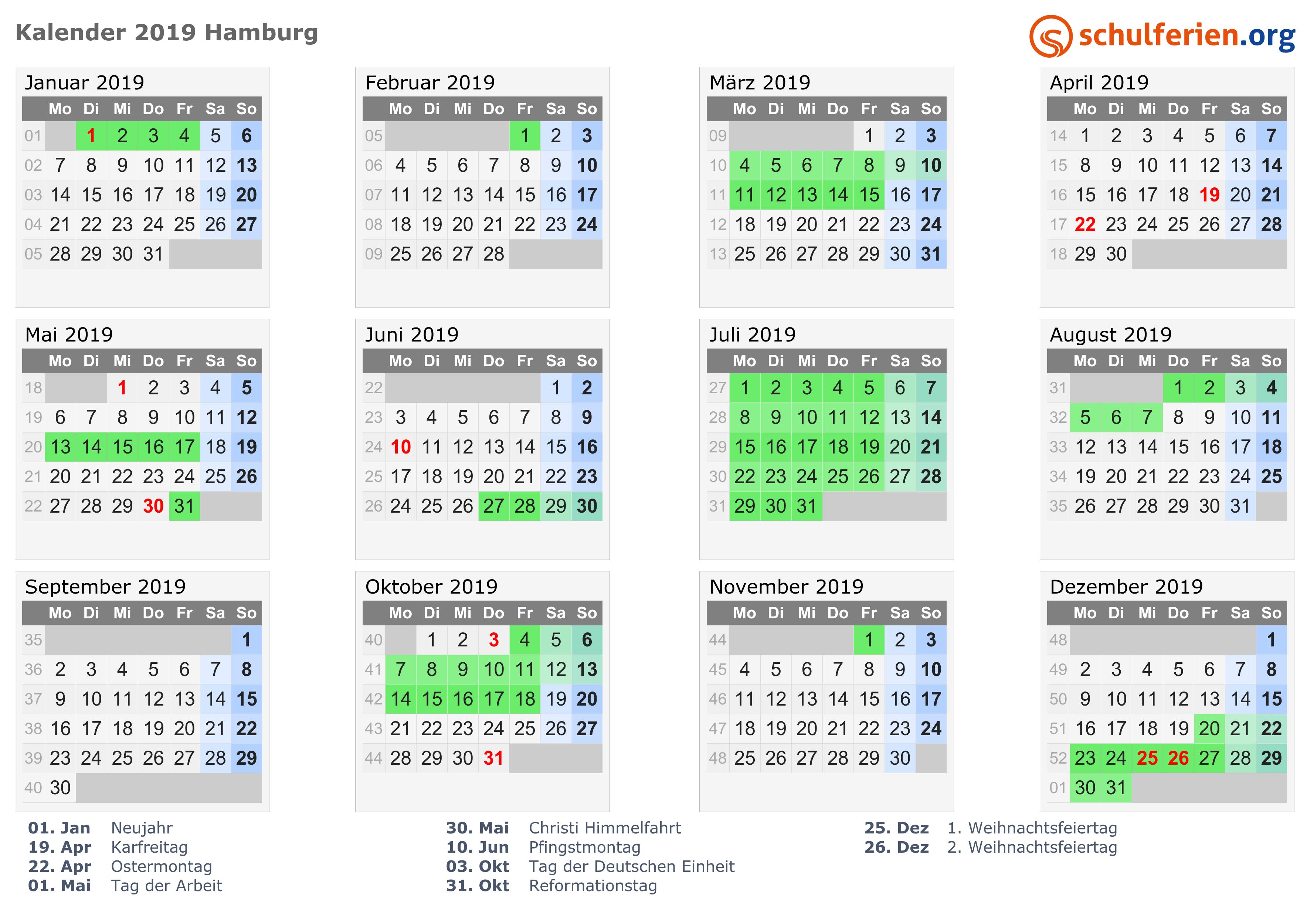 Kalender 2019 Ferien Hamburg Feiertage
