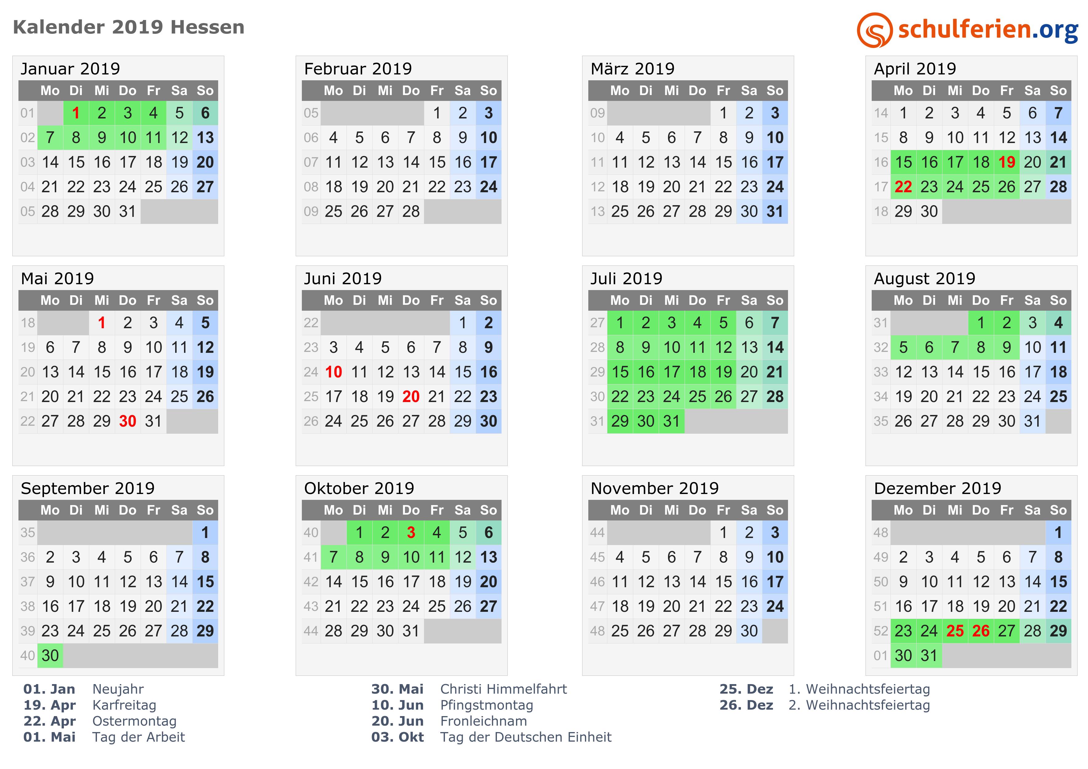 Kalender 2018 2019 Hessen