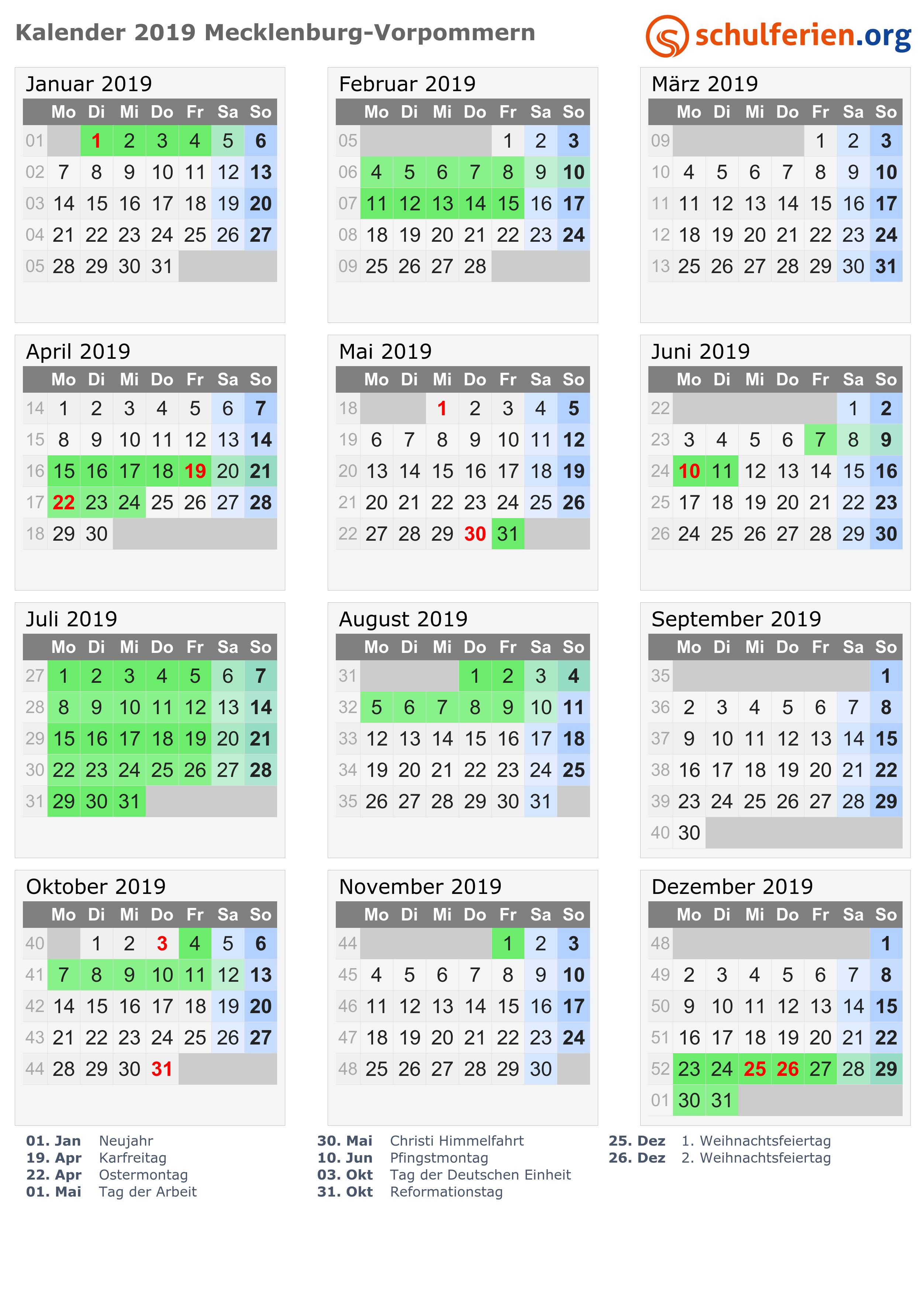 Kalender 2018 2019 2020 Mecklenburg Vorpommern