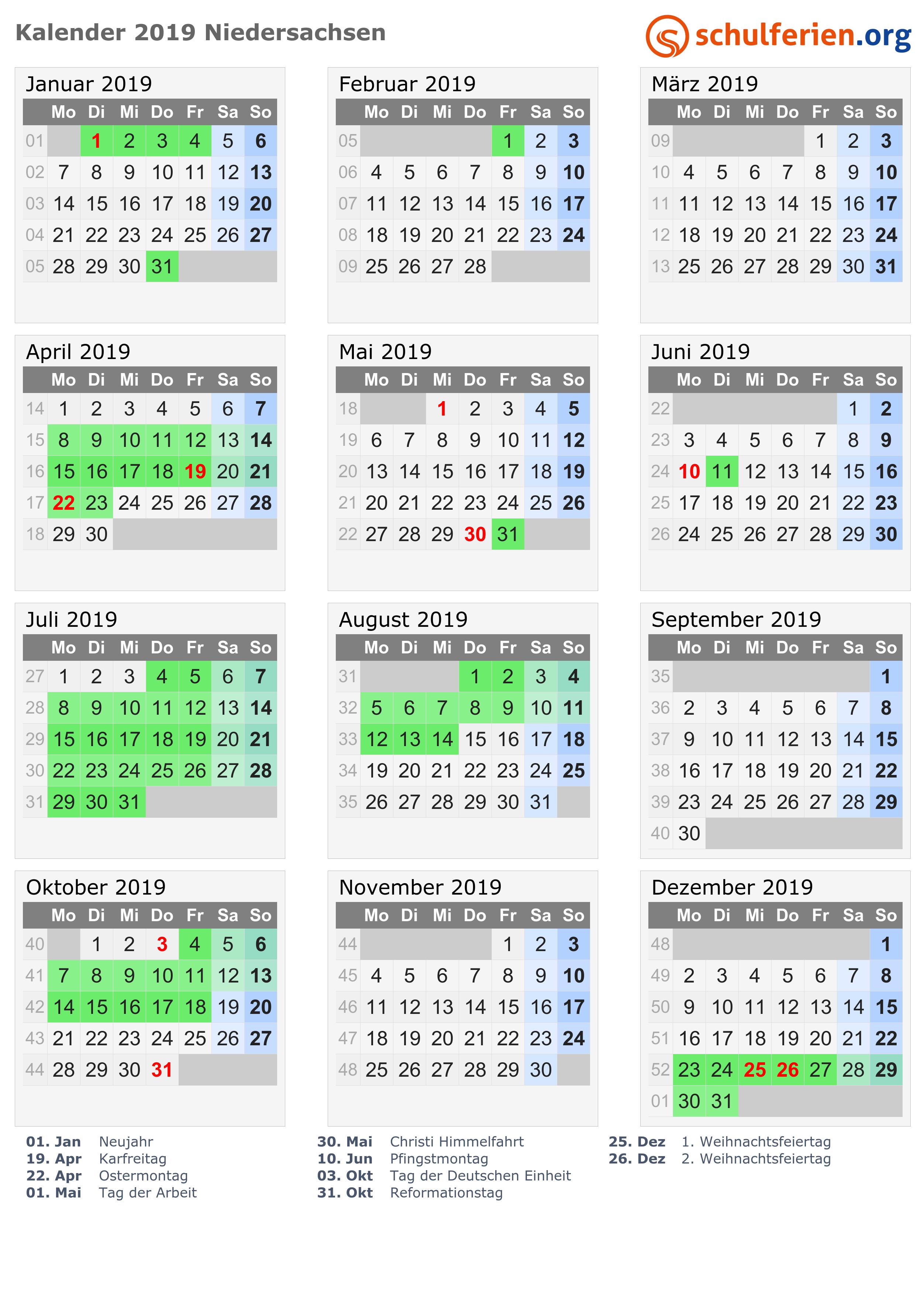 kalender 2019 ferien niedersachsen