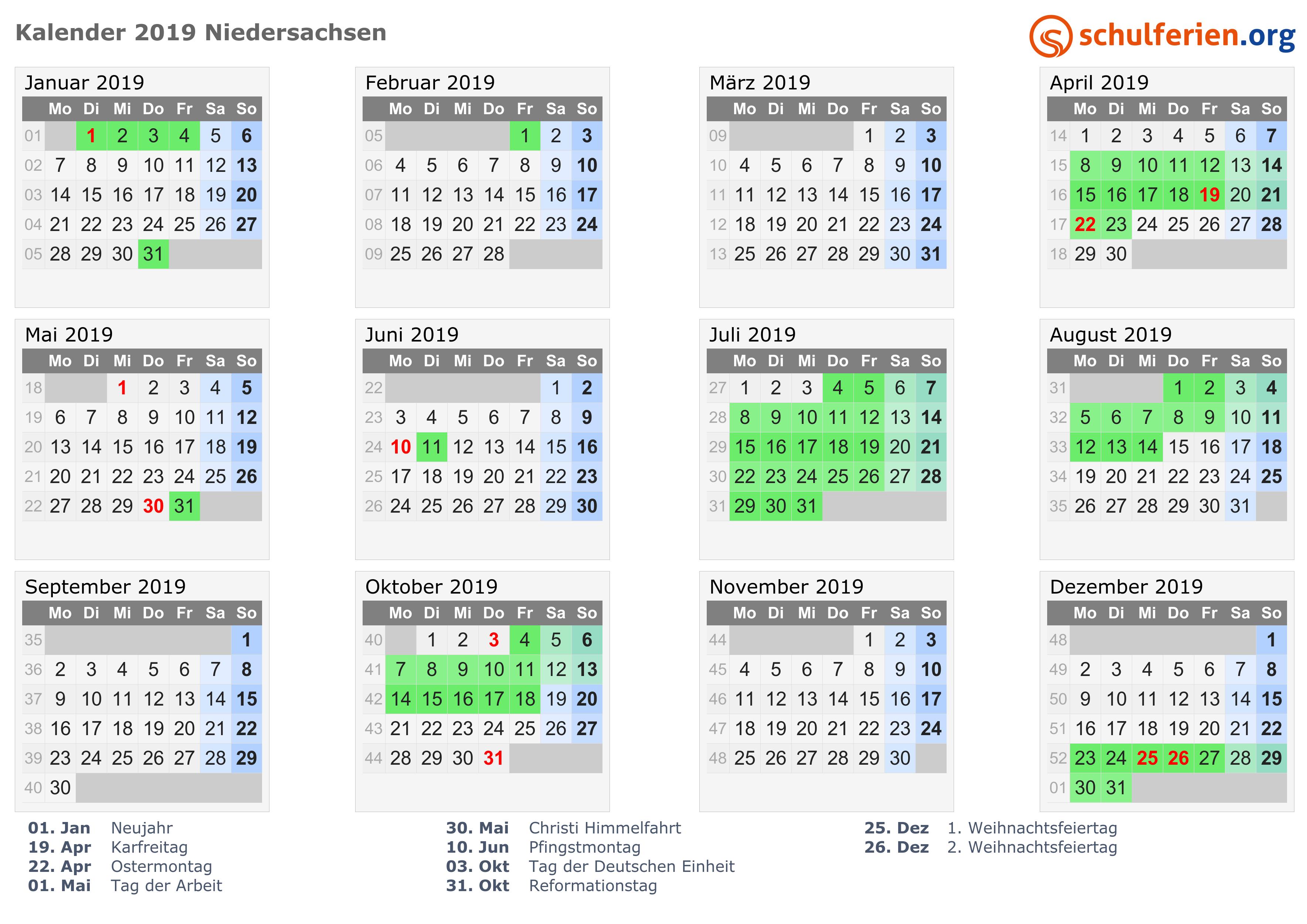 Kalender 2019 + Ferien Niedersachsen, Feiertage
