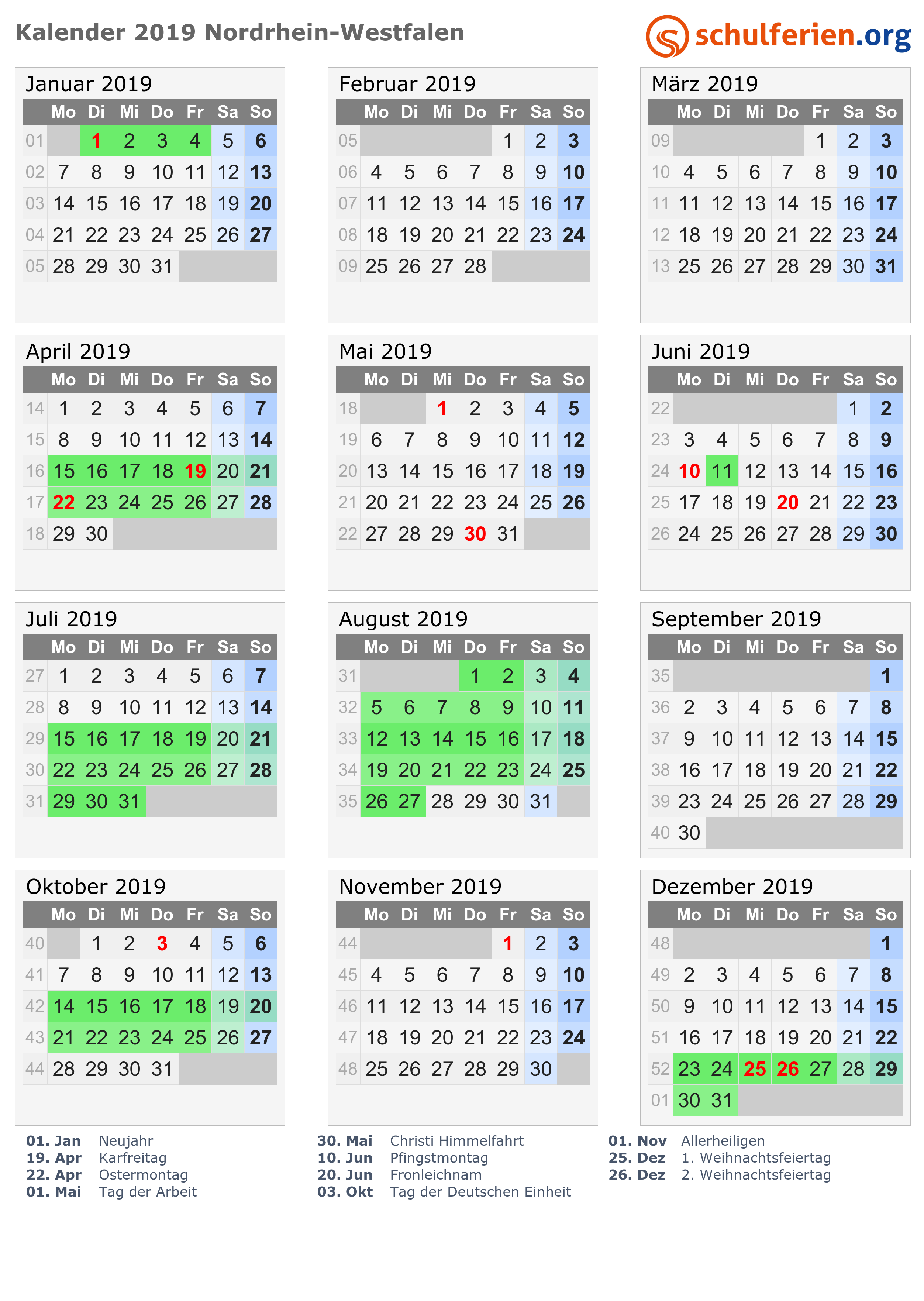Kalender 2019 2020 2021 Nordrhein Westfalen