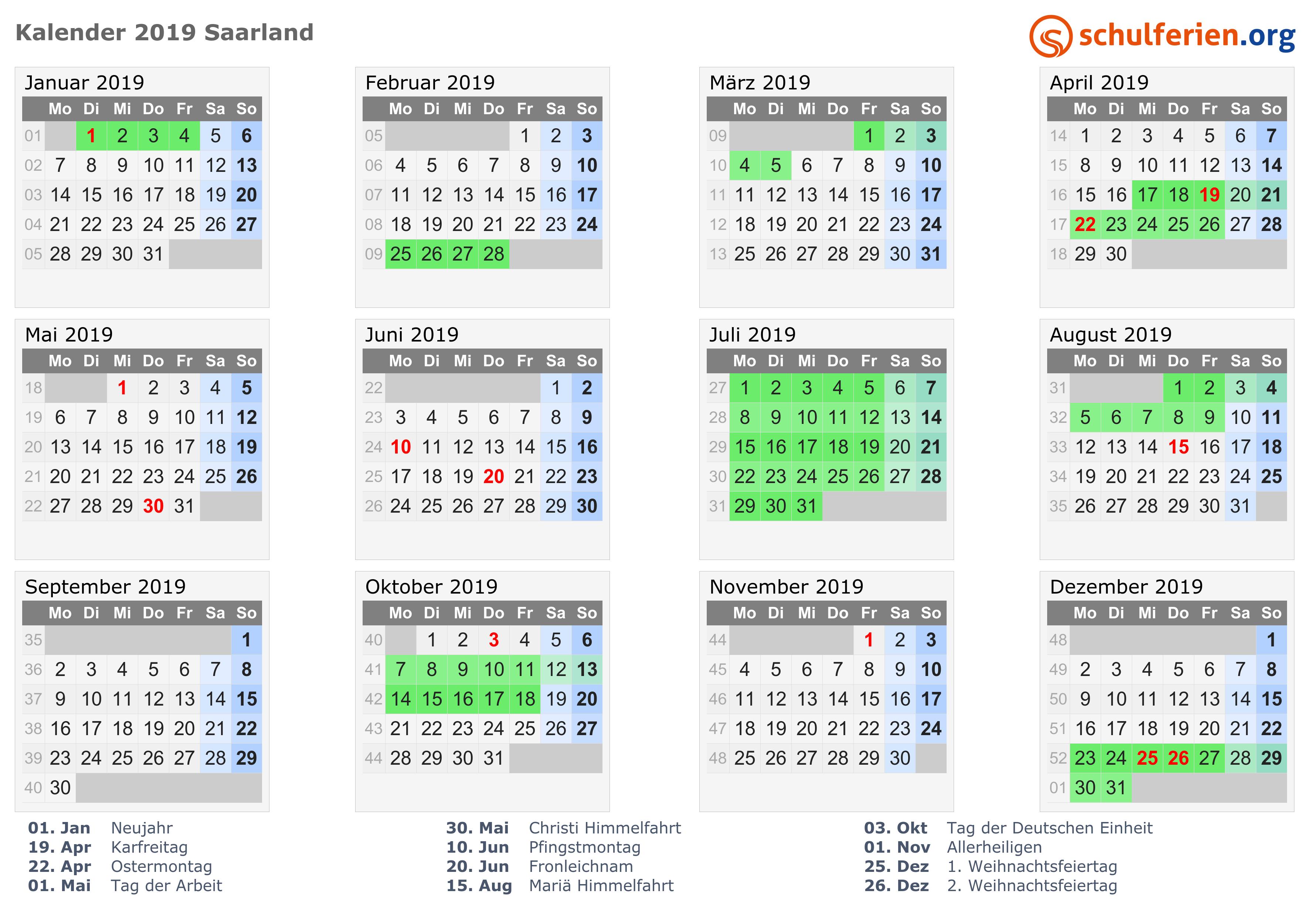 Kalender 2019 Ferien Saarland Feiertage