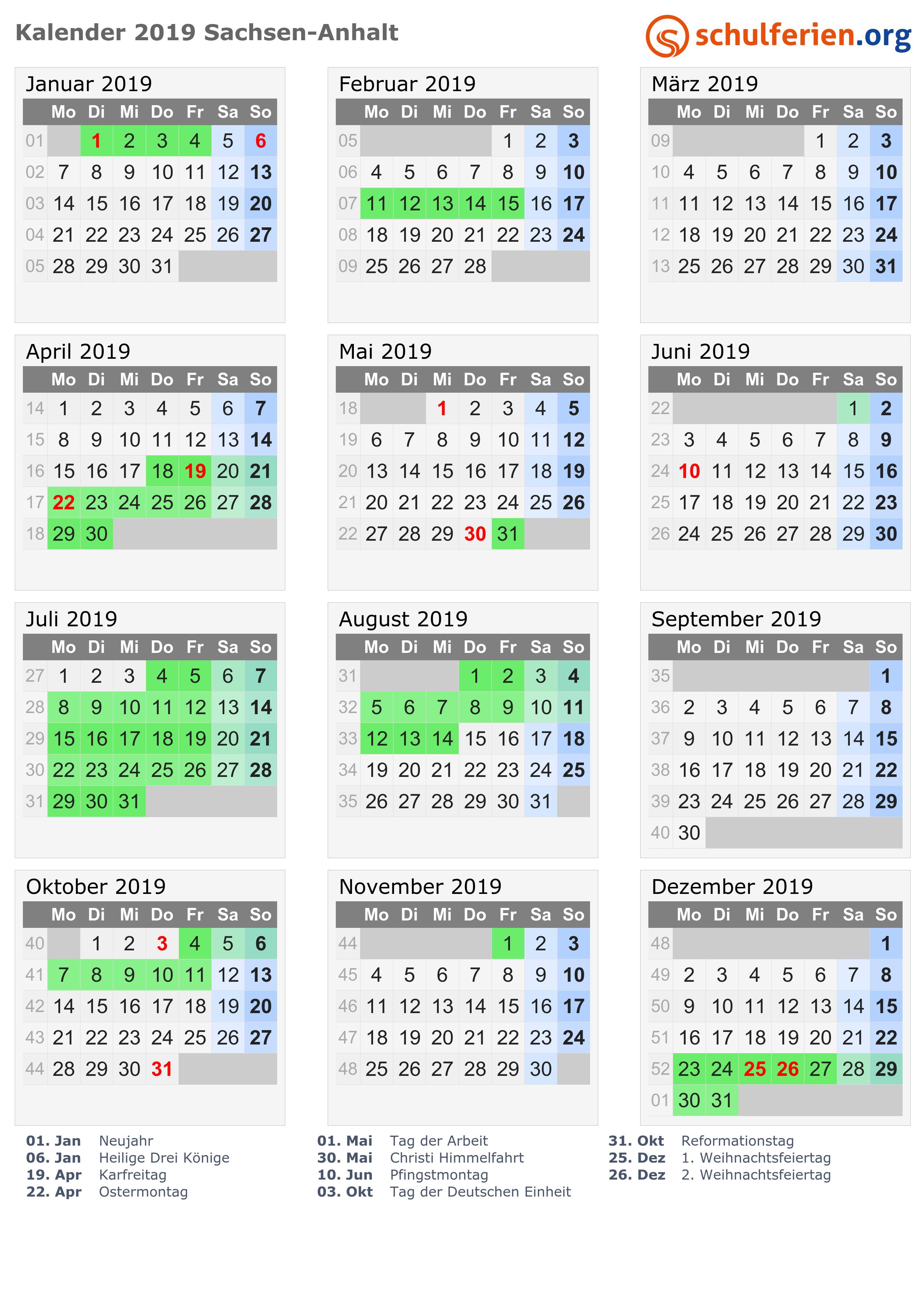 Kalender 2019 Ferien Sachsen Anhalt Feiertage