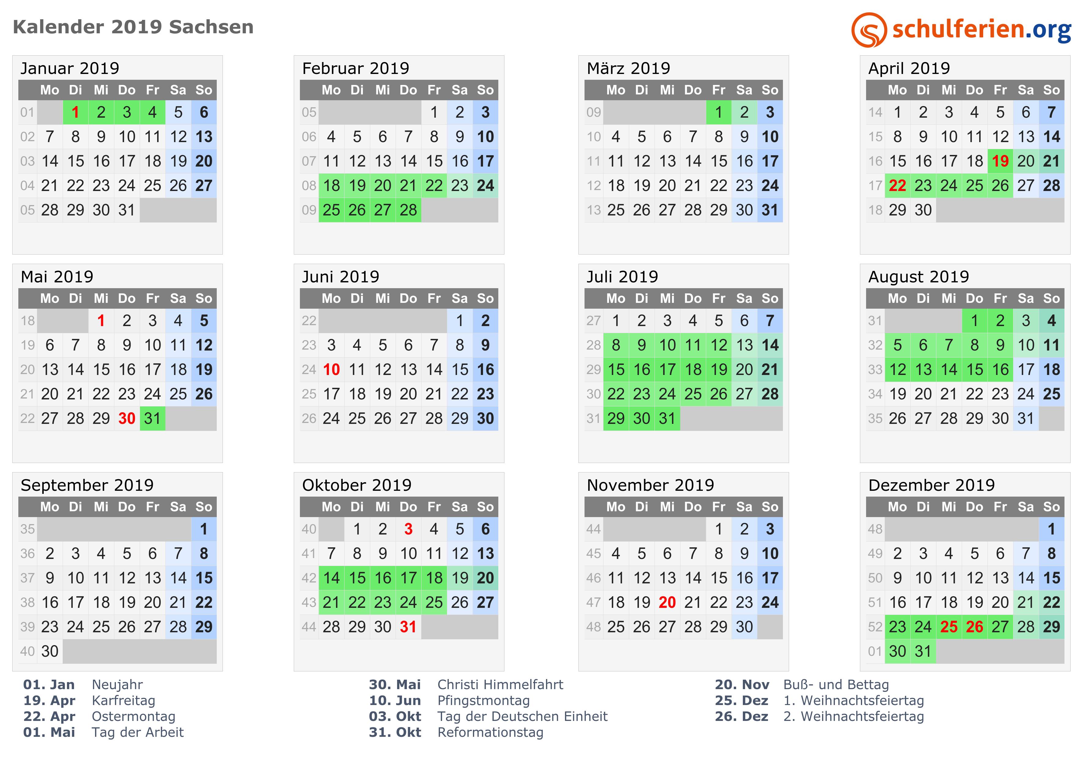 kalender 2019 ferien sachsen feiertage. Black Bedroom Furniture Sets. Home Design Ideas
