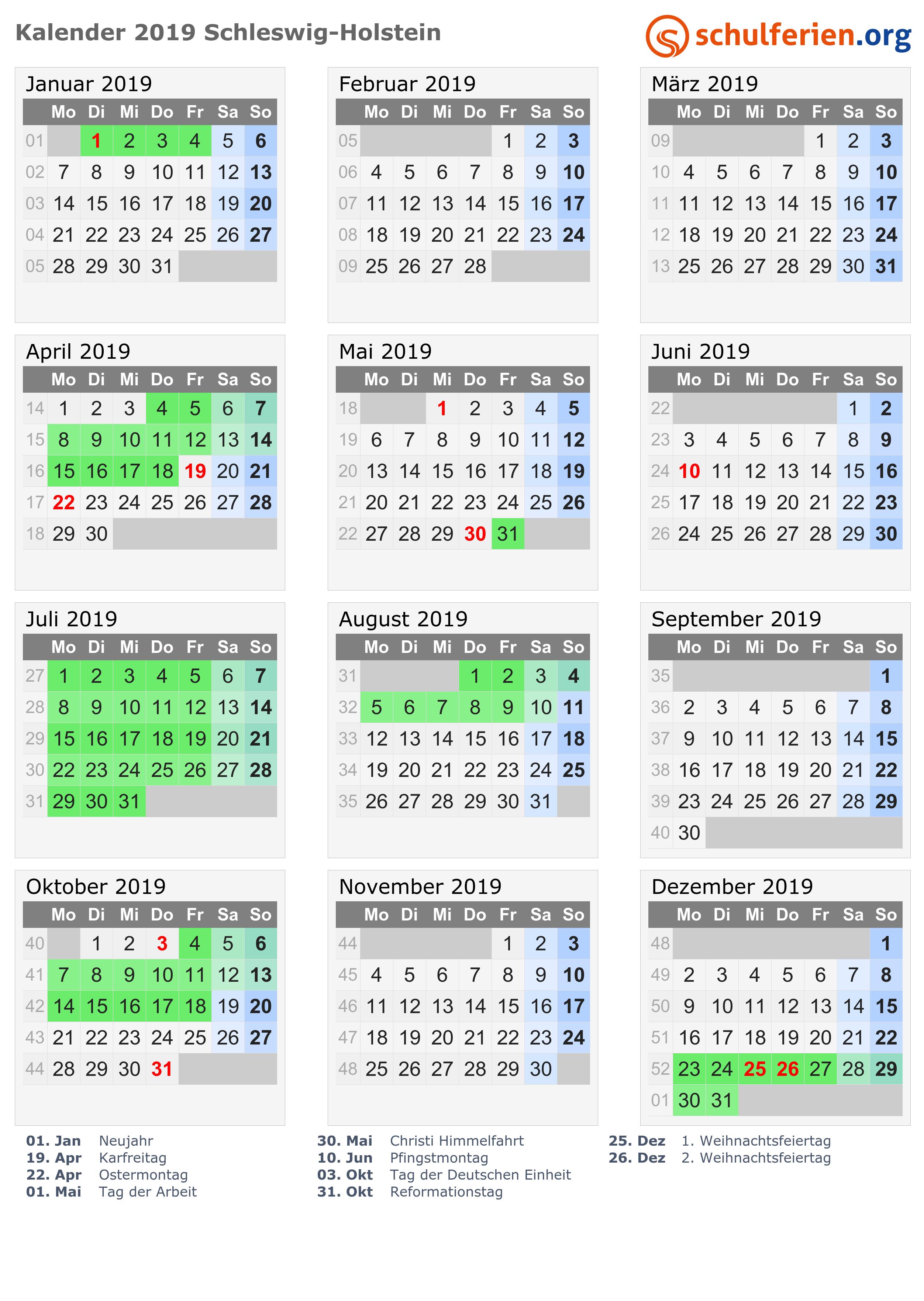 Kalender 20192020 Schleswig Holstein