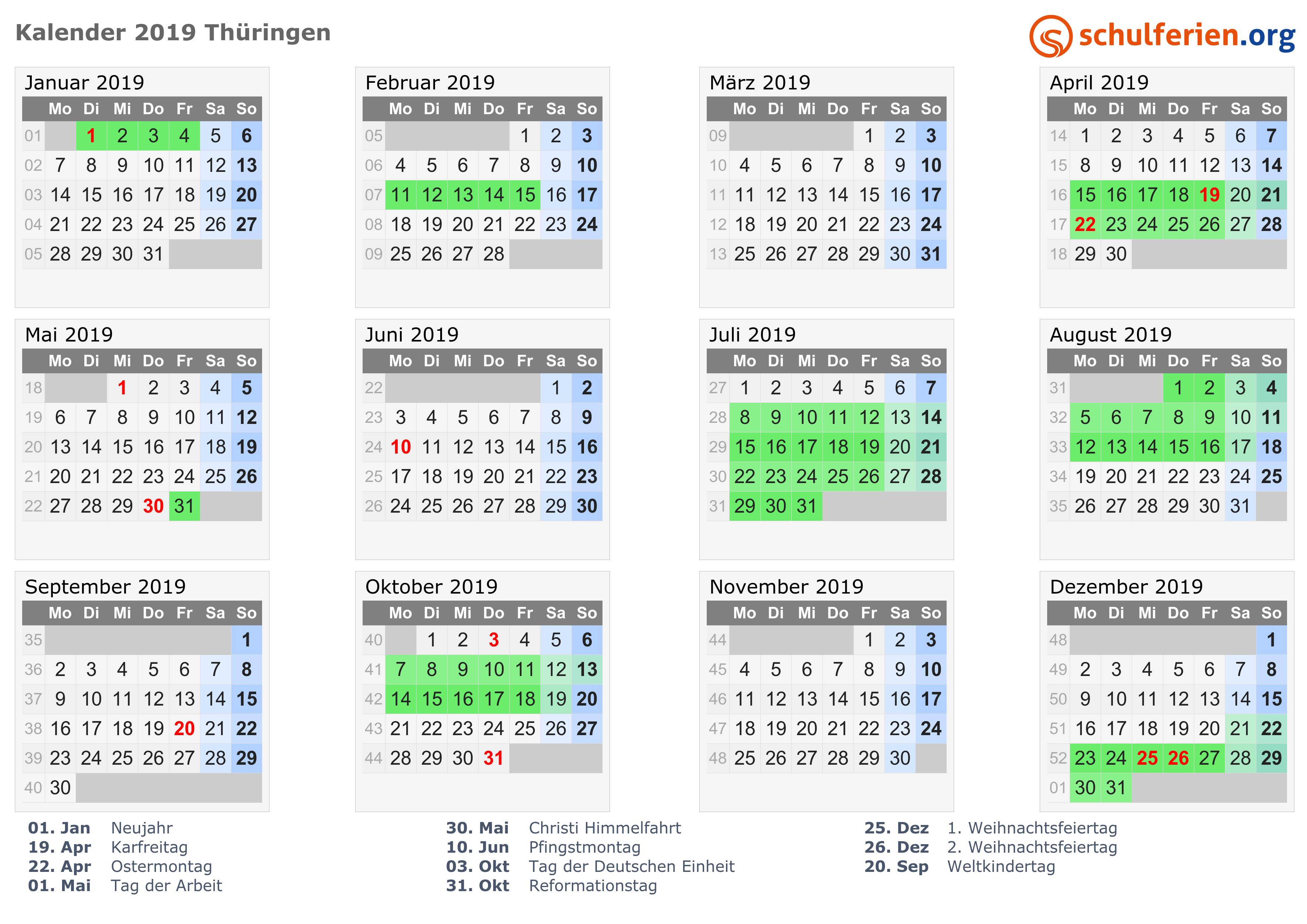 Kalender 20192020 Thüringen
