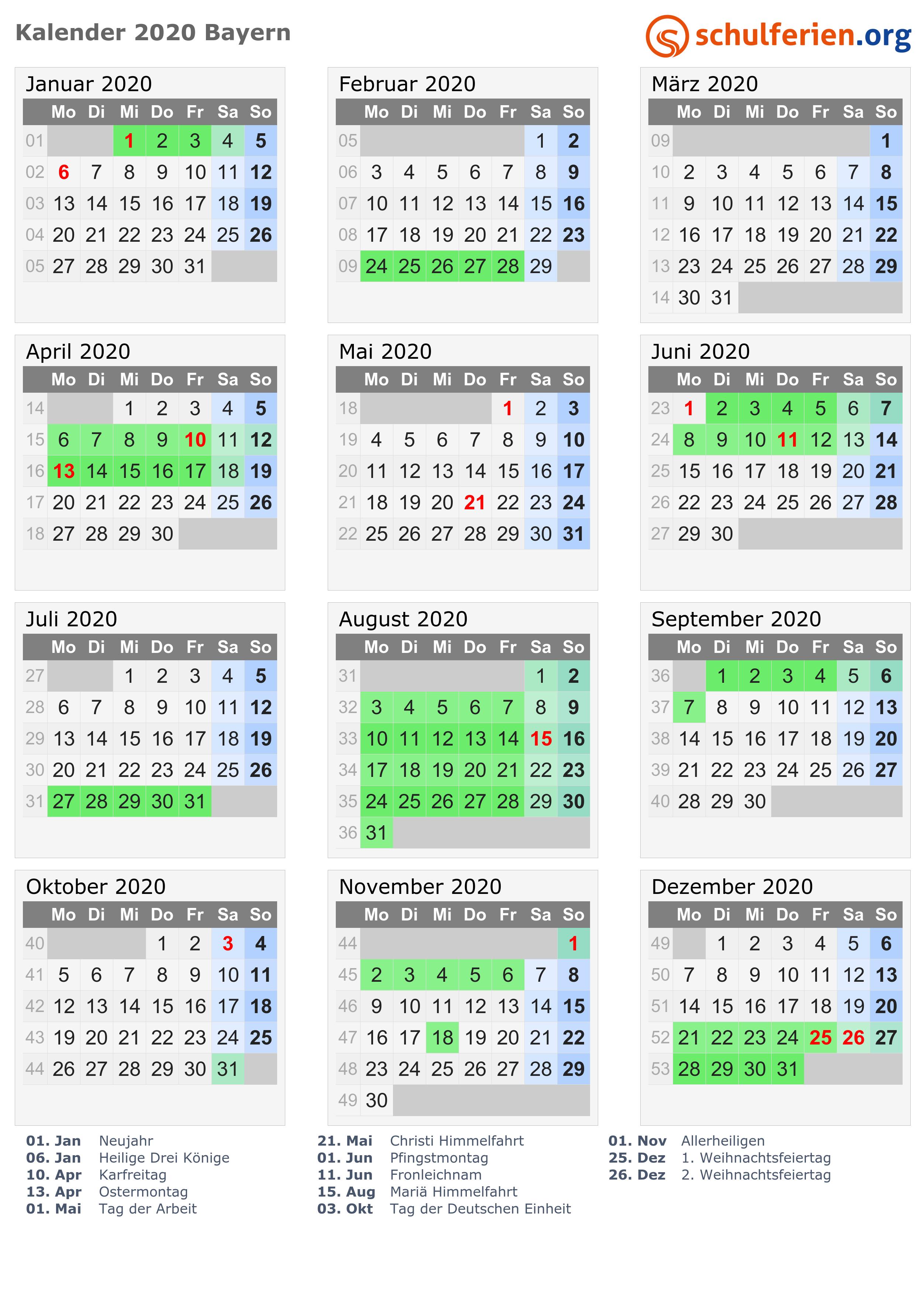 Kalender 2020 Ferien Bayern Feiertage