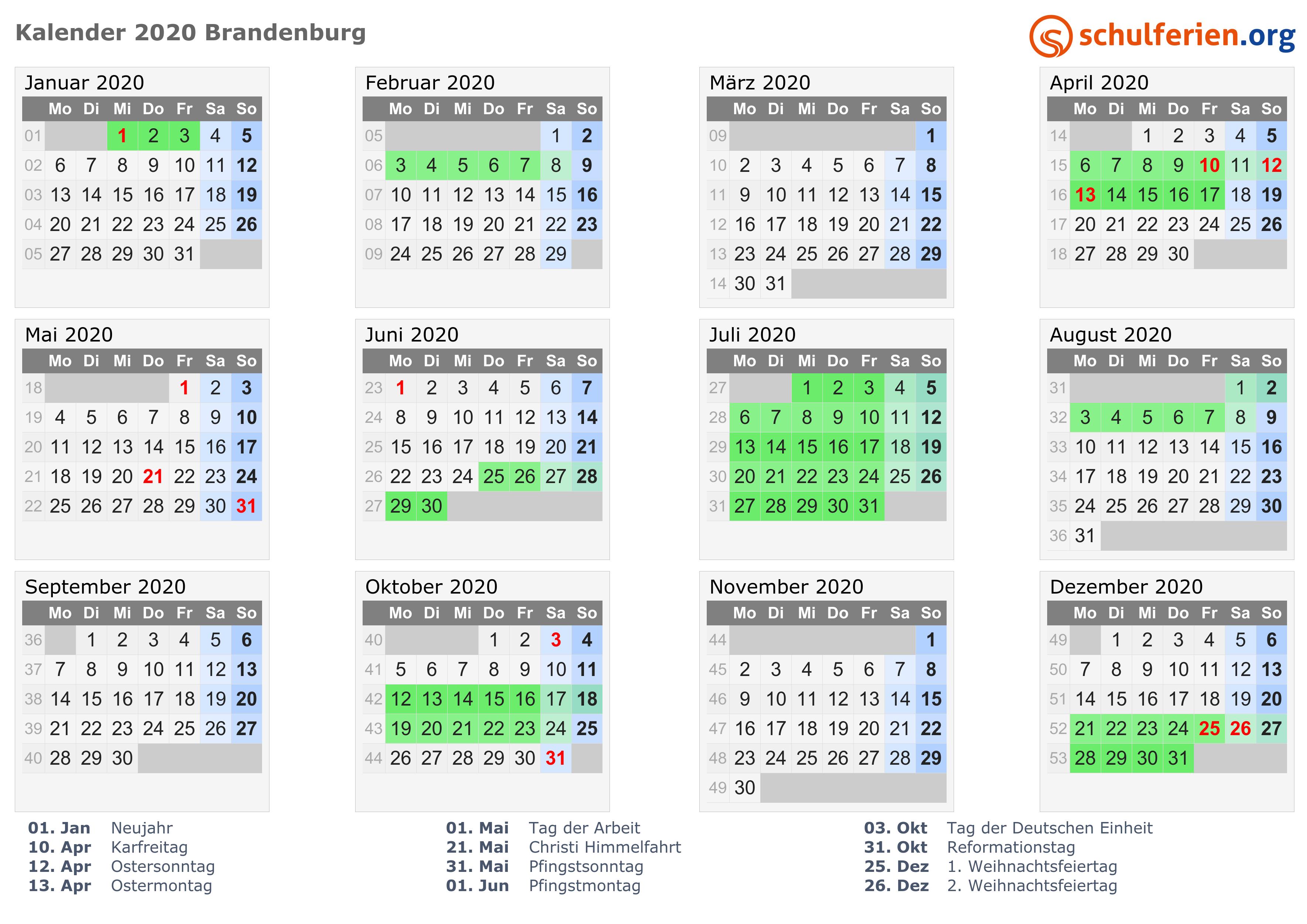 kalender 2020 ferien brandenburg feiertage. Black Bedroom Furniture Sets. Home Design Ideas