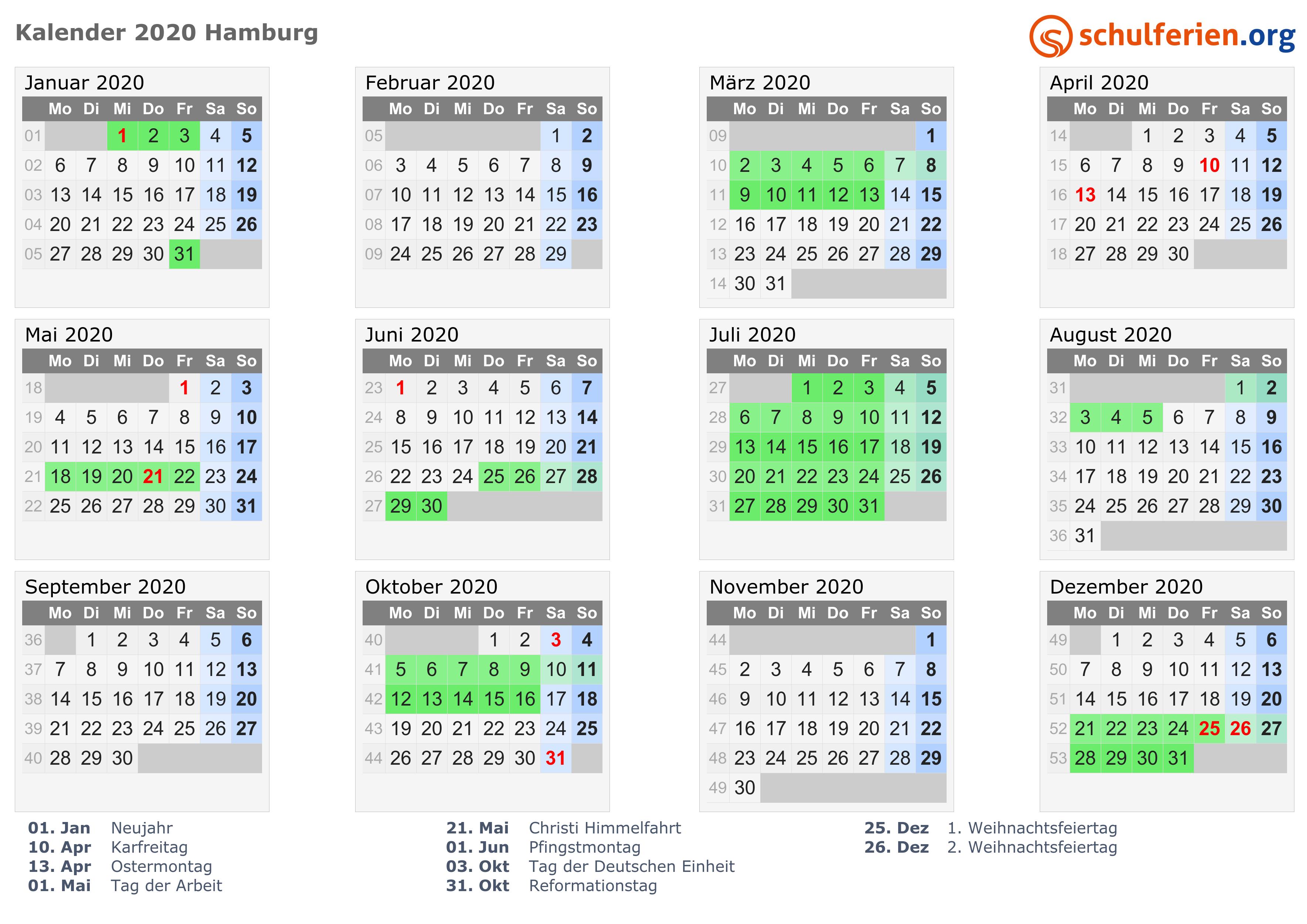 Kalender 2020 Ferien Hamburg Feiertage