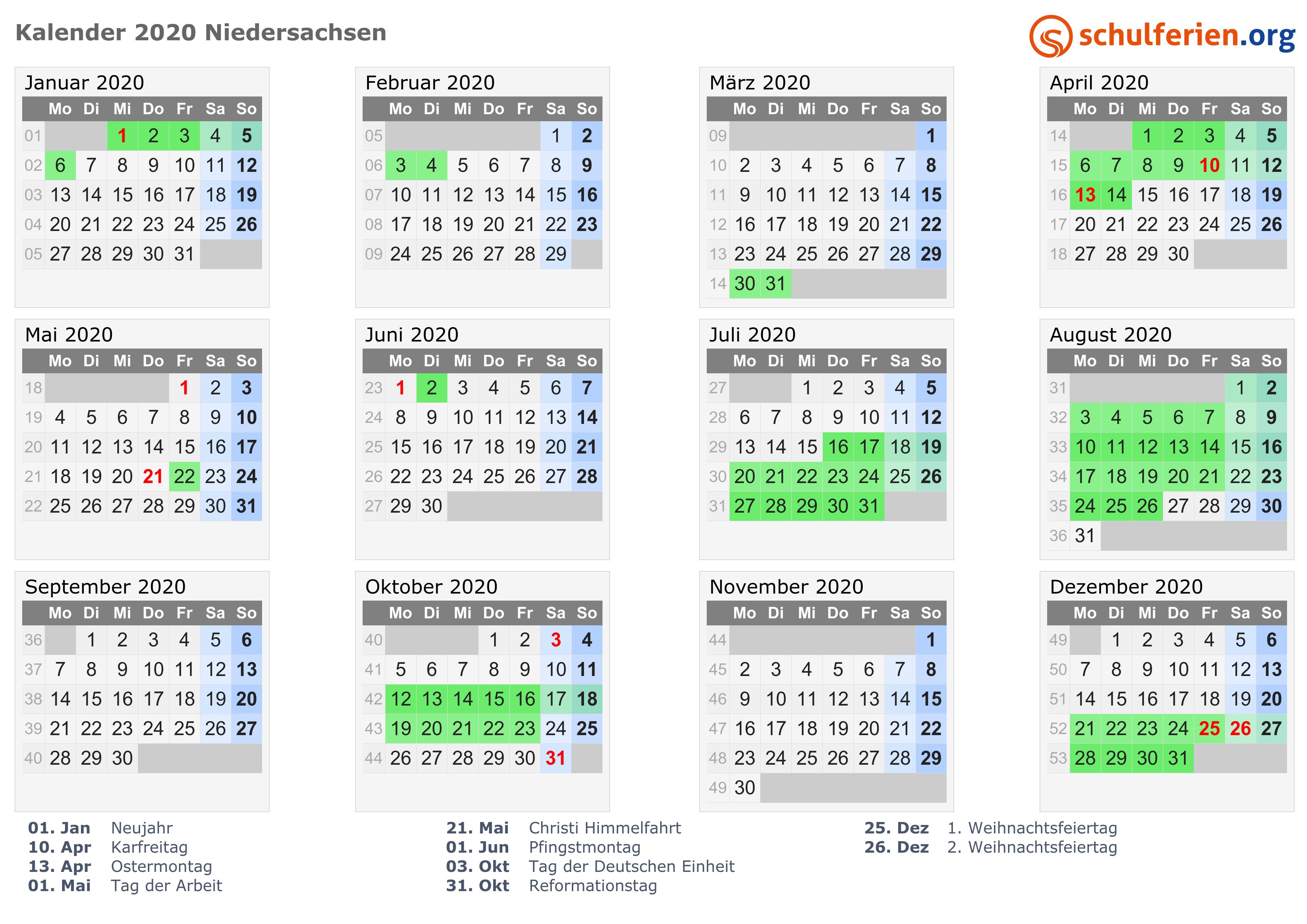 Kalender 2020 mit Ferien und Feiertagen Niedersachsen