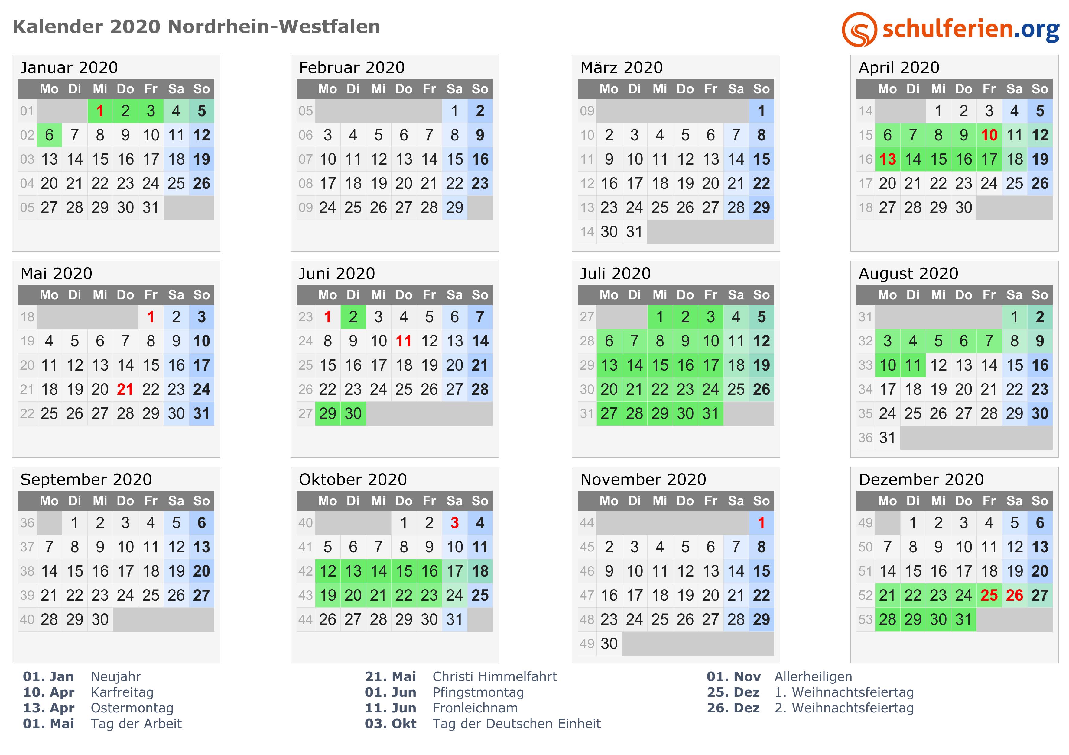 Kalender 2020 Ferien Nordrhein Westfalen Feiertage