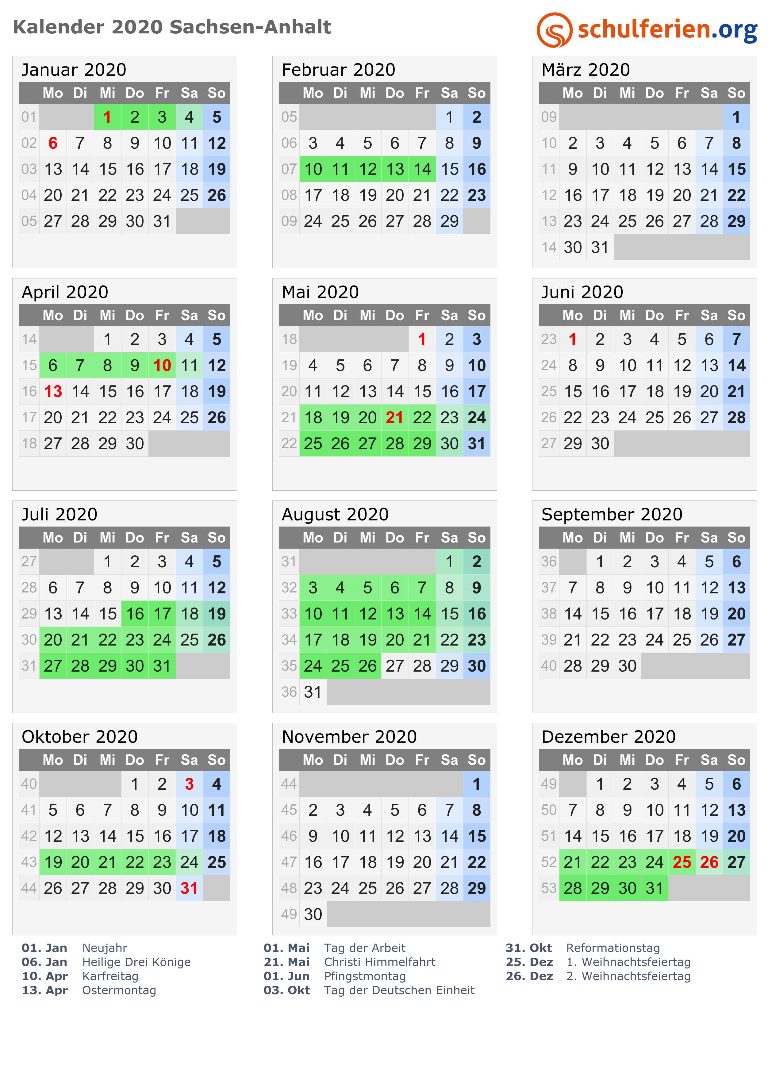Kalender 2020 Ferien Sachsen Anhalt Feiertage