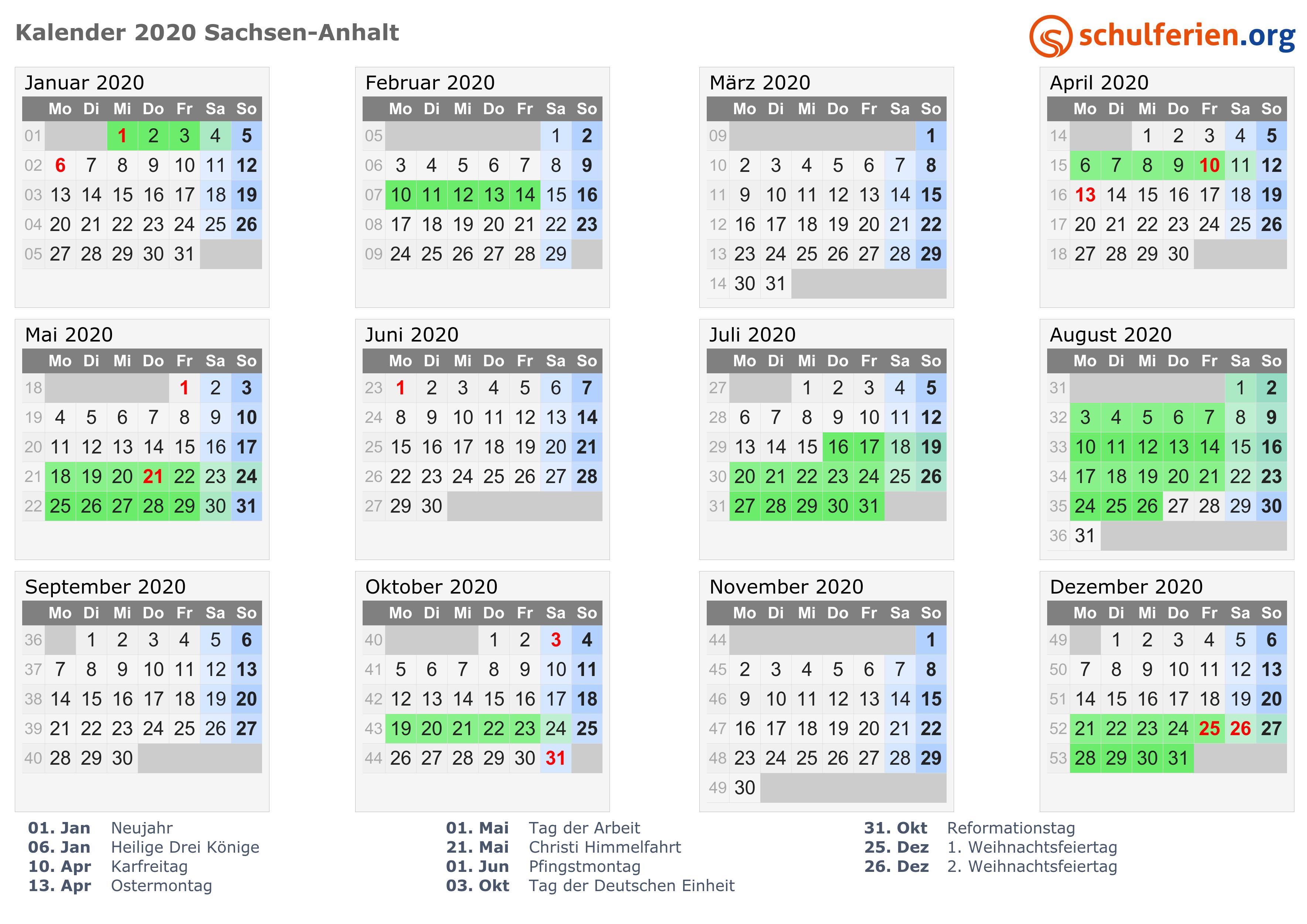 Gesetzliche Feiertage Sachsen Anhalt 2020