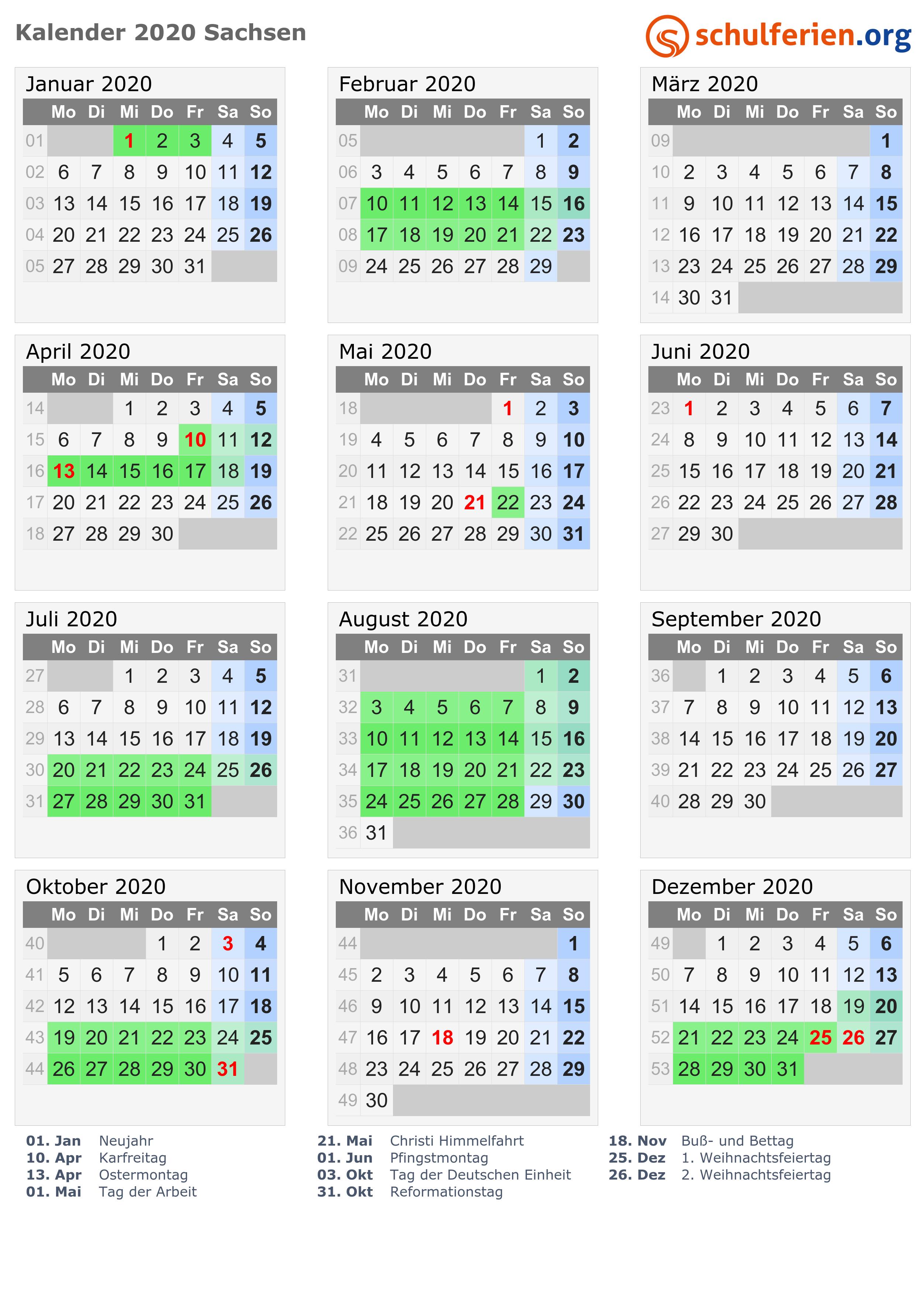 Feiertage Sachsen 2020