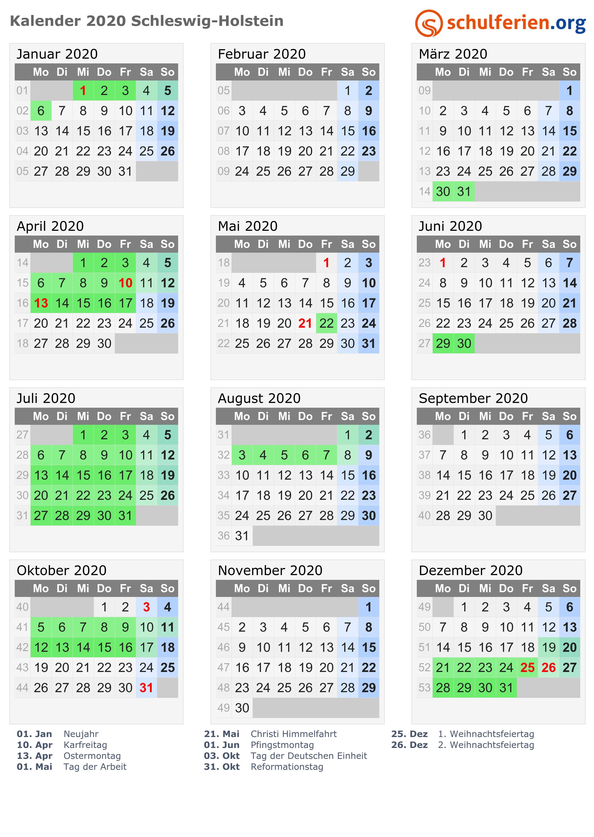 Kalender 2020 Ferien Schleswig Holstein Feiertage