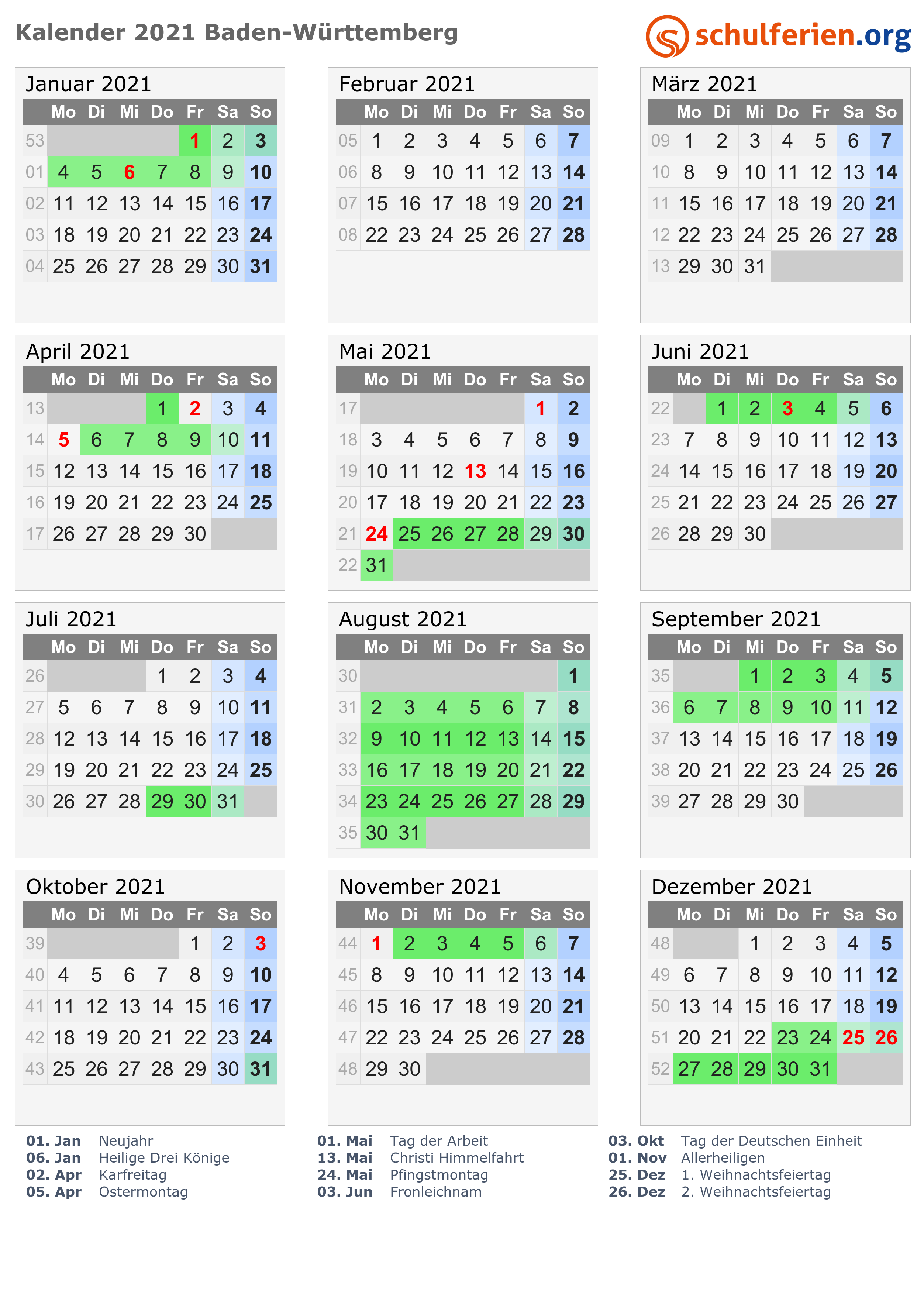 Feiertage Bawü 2021