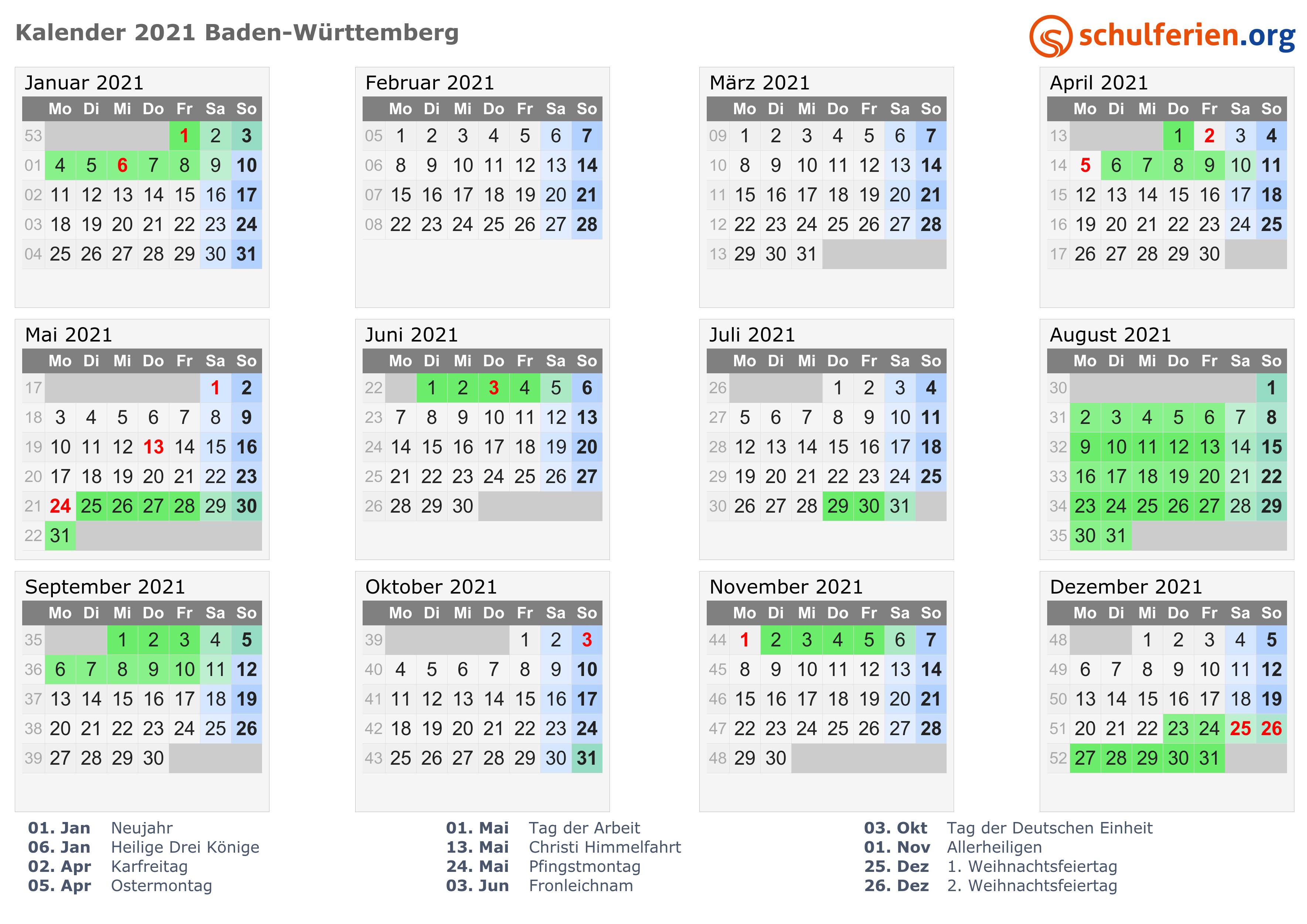 kalender 2021 ferien baden w rttemberg feiertage. Black Bedroom Furniture Sets. Home Design Ideas