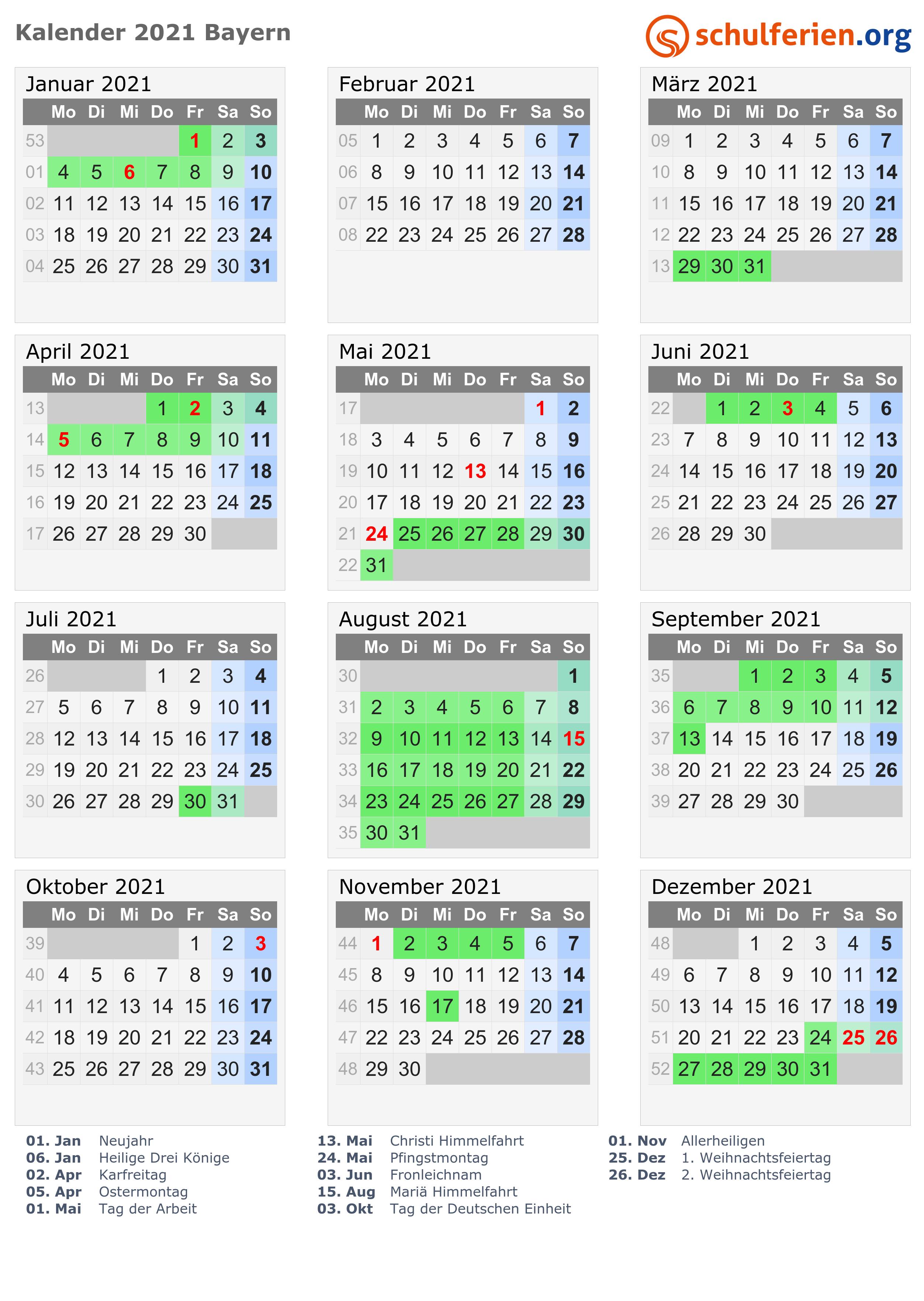 Kalender 2020 feiertage bayern