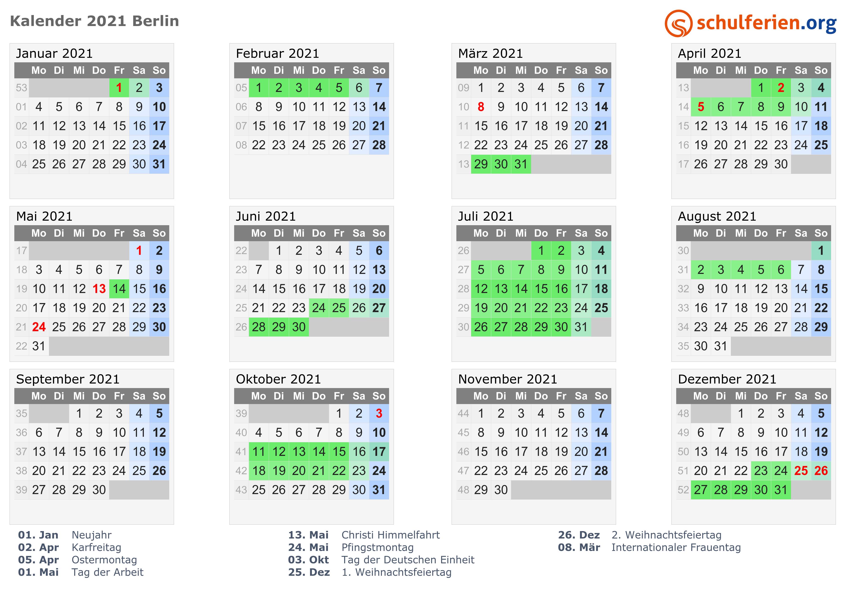 Schulferien Berlin 2021 Kalender