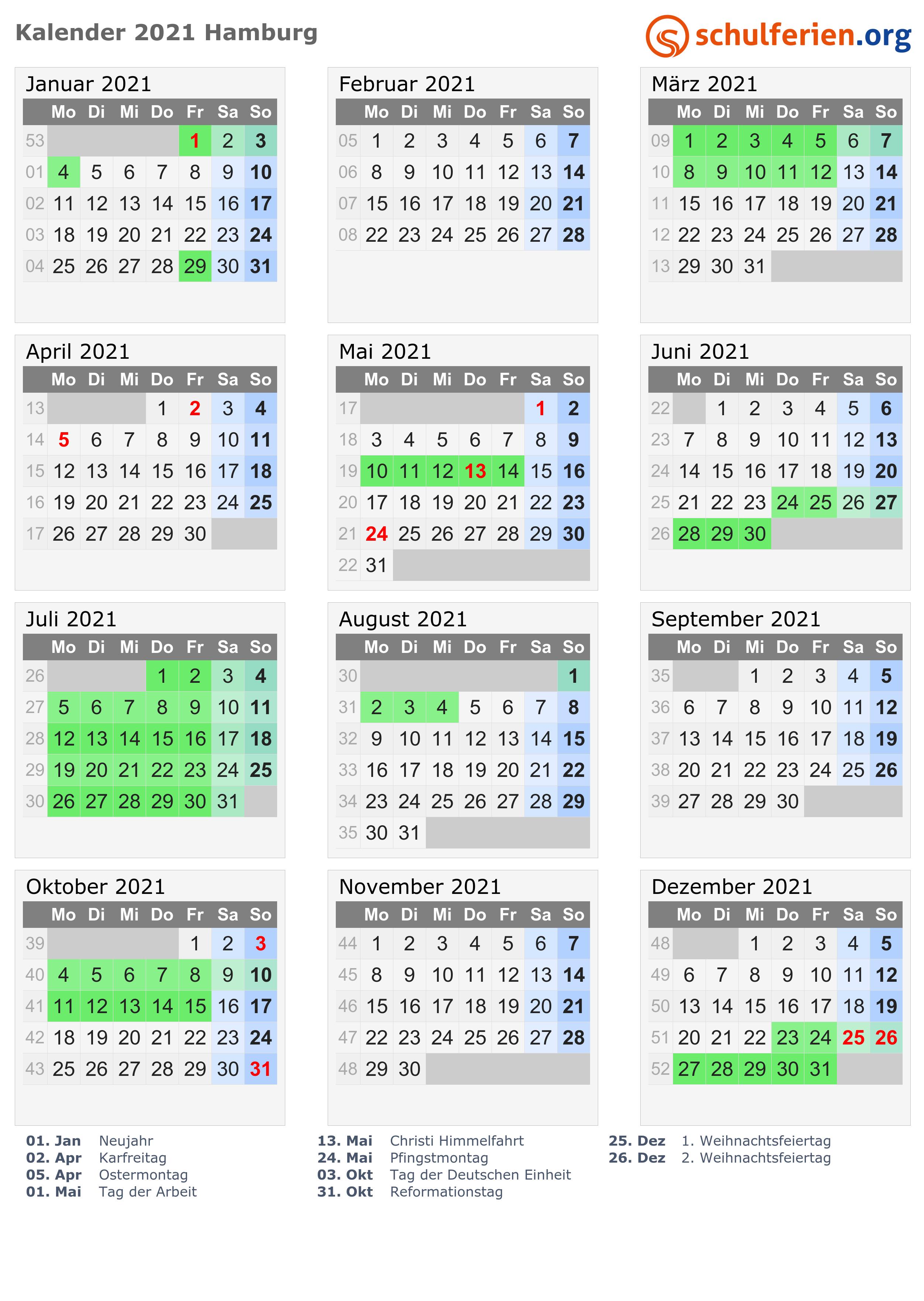 Kalender 2021 Ferien Hamburg Feiertage