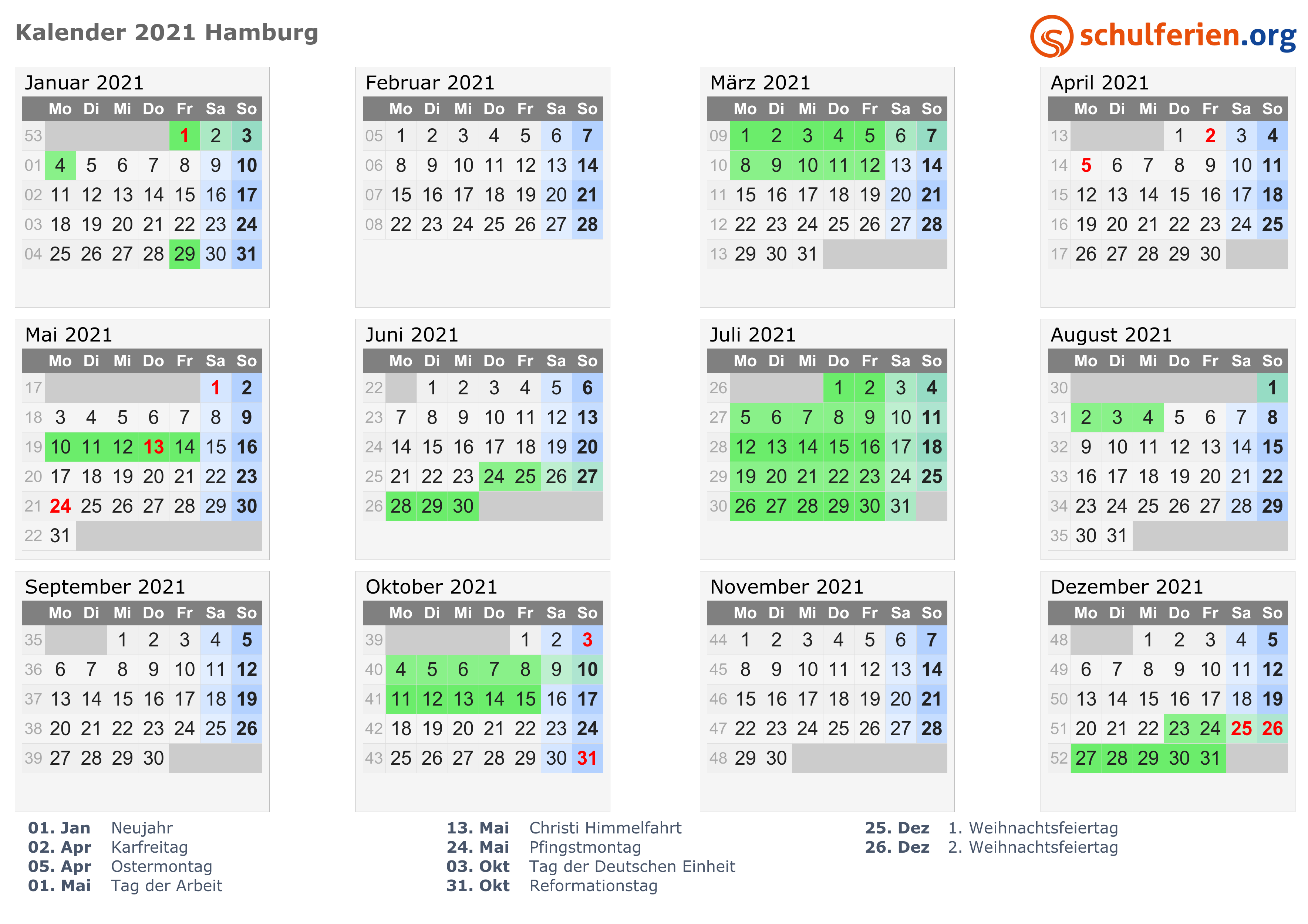 Kalender 2021 Hamburg