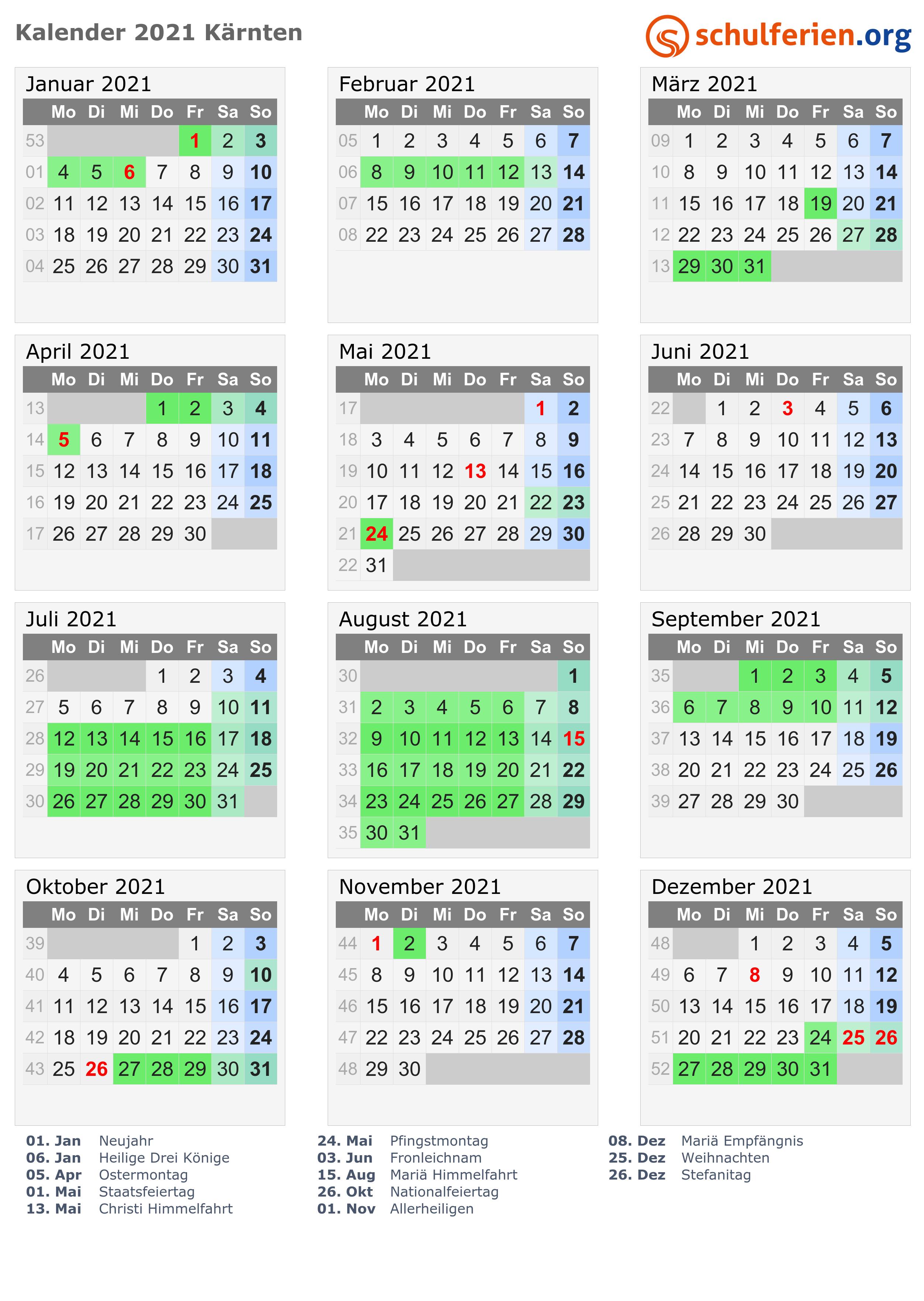 Kalender 2021 Kärnten