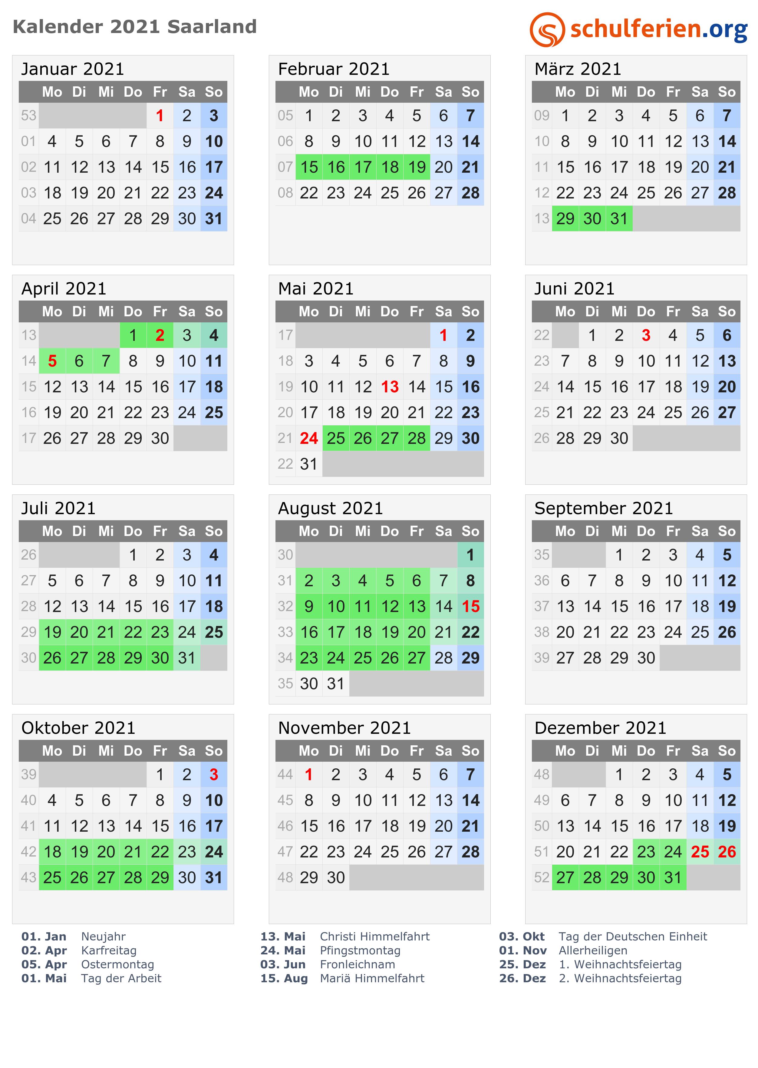 Sommerferien Saarland 2021