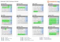 Kalender 2021 + Ferien Sachsen-Anhalt, Feiertage