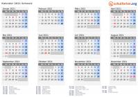Kalender 2021 Schweiz mit Feiertagen