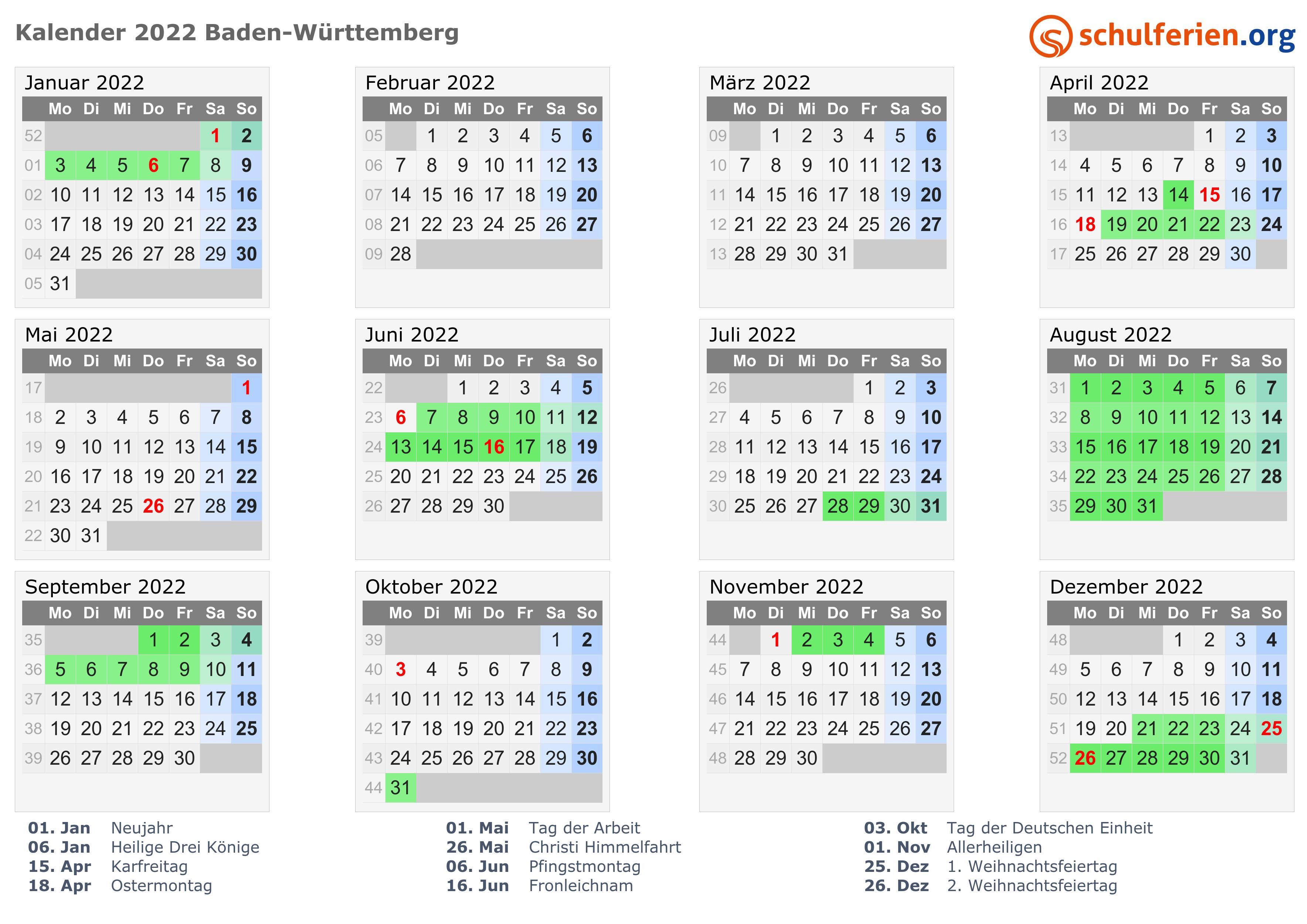 Schulferien Kalender Baden Wurttemberg Bw 2021 Mit Feiertagen Und