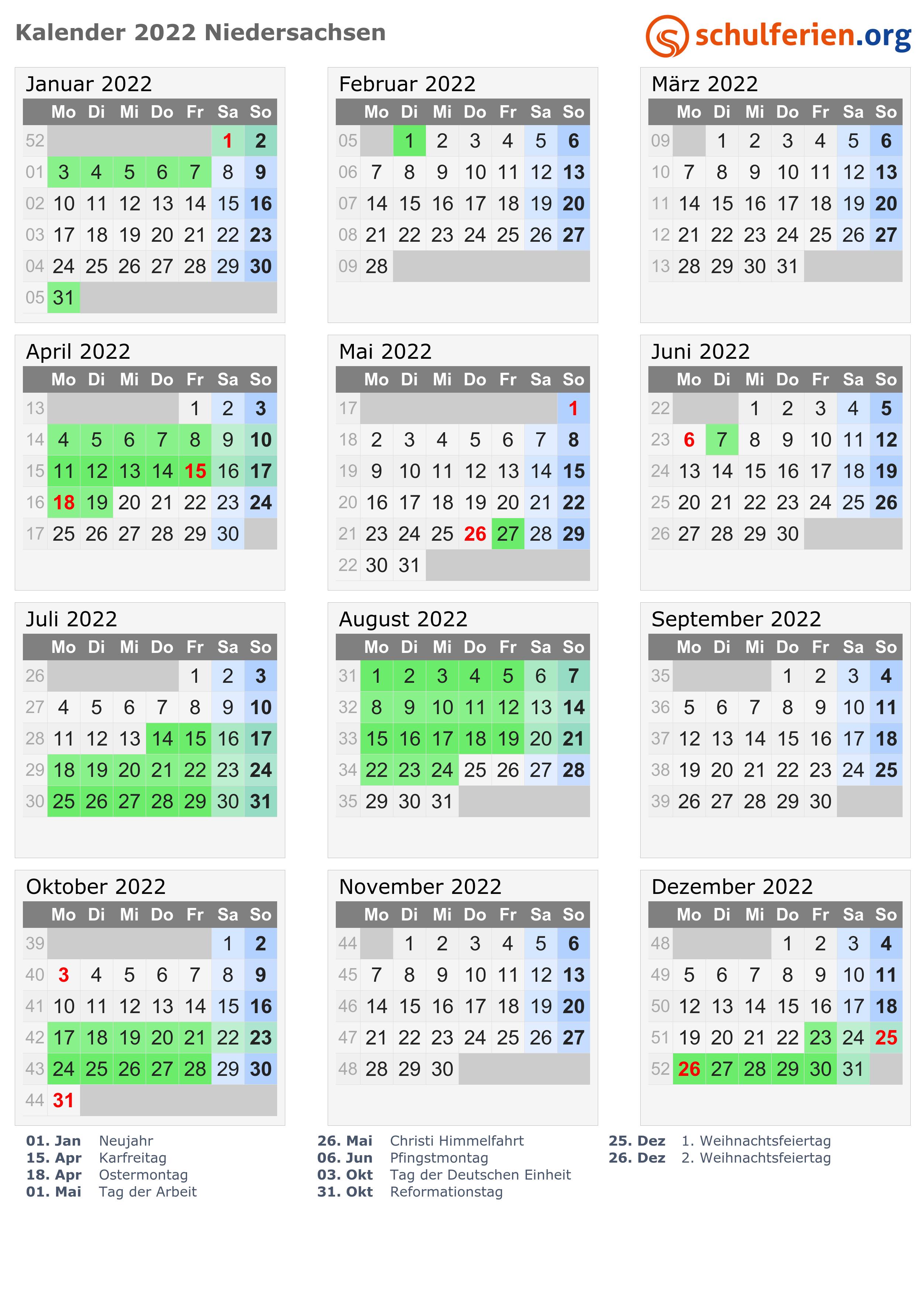 Kalender 2022 + Ferien Niedersachsen, Feiertage