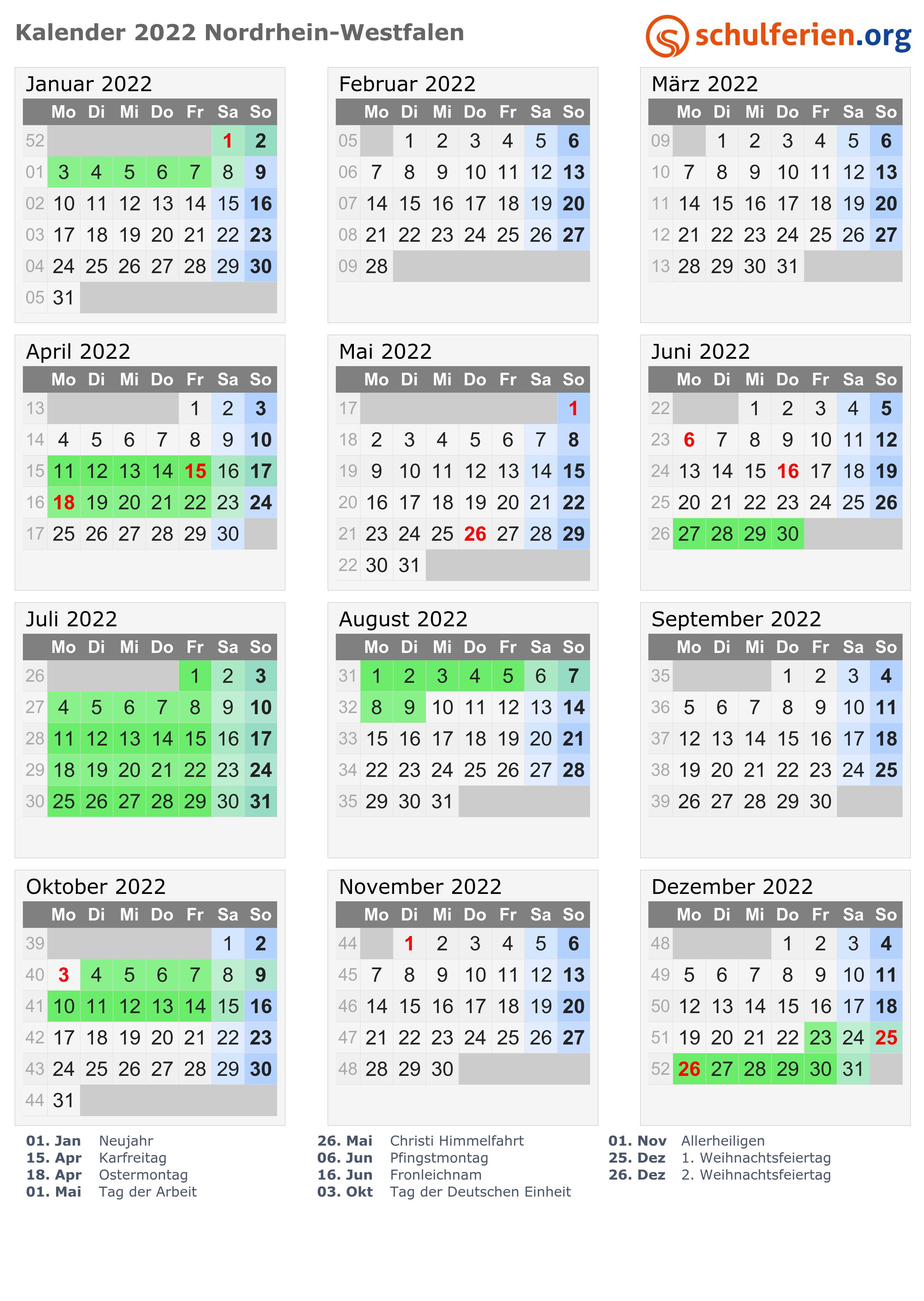 Kalender 2022 Ferien Nordrhein Westfalen Feiertage