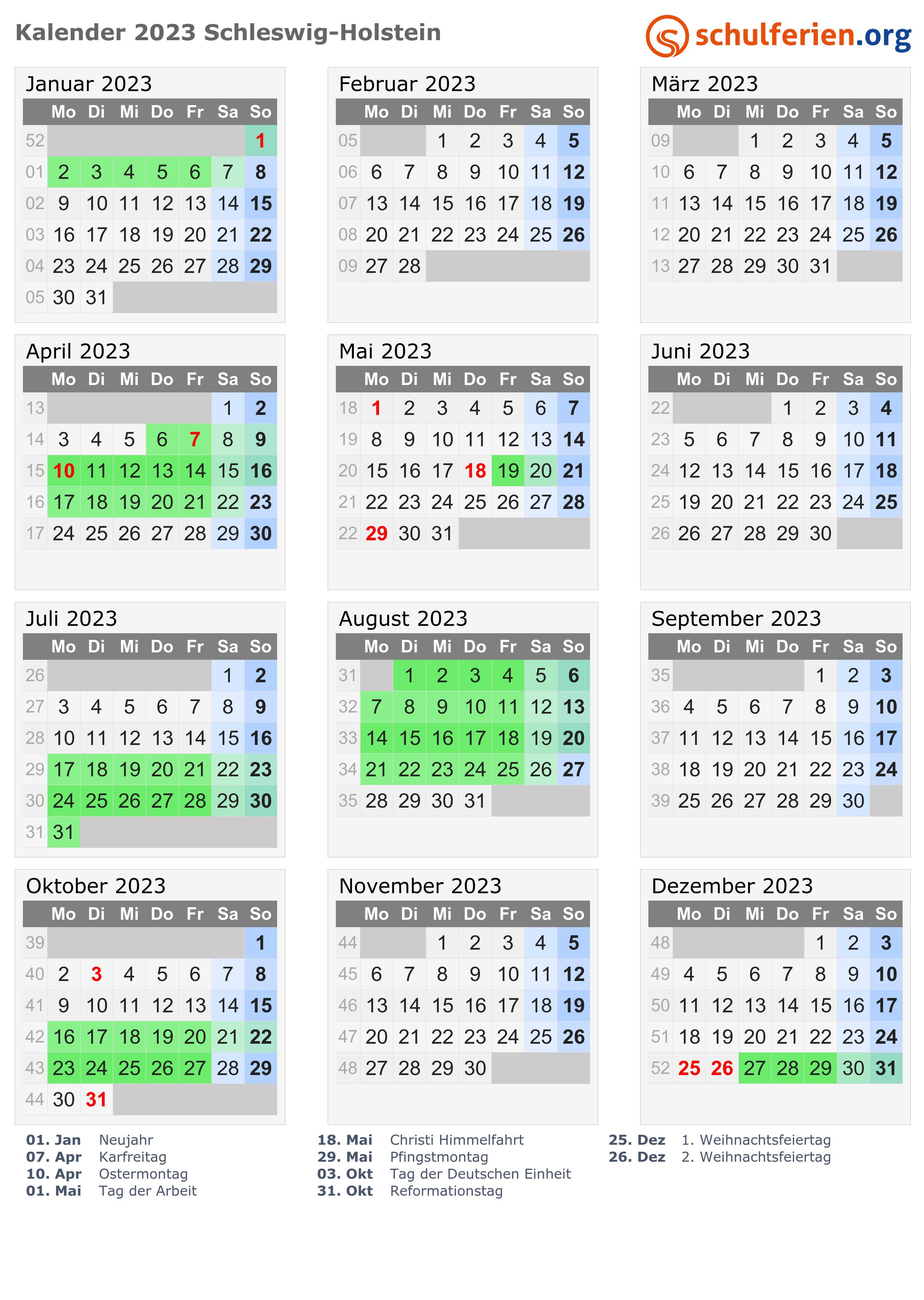 Kalender 2023 Ferien Schleswig Holstein Feiertage