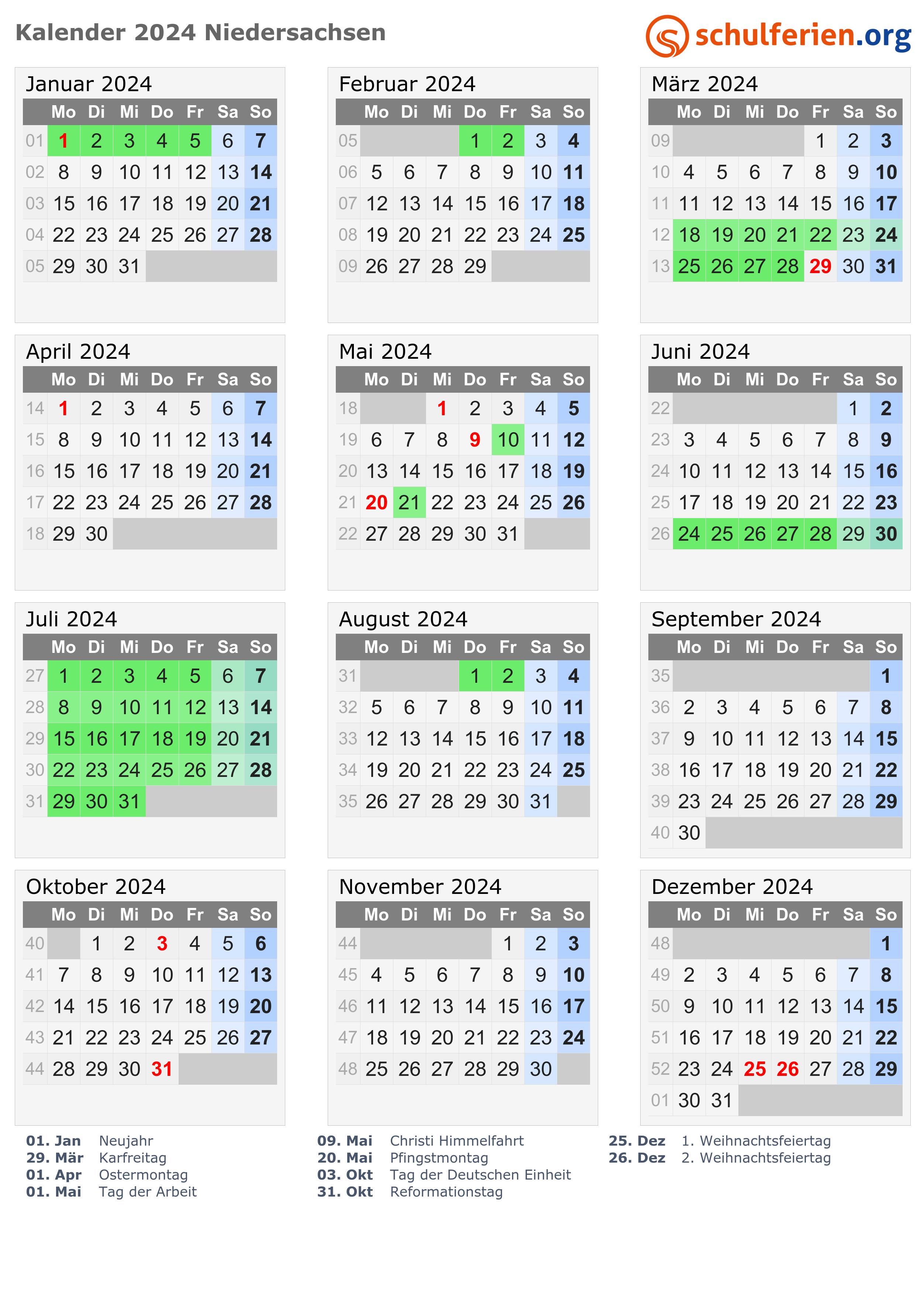 Ferien 2020 in niedersachsen