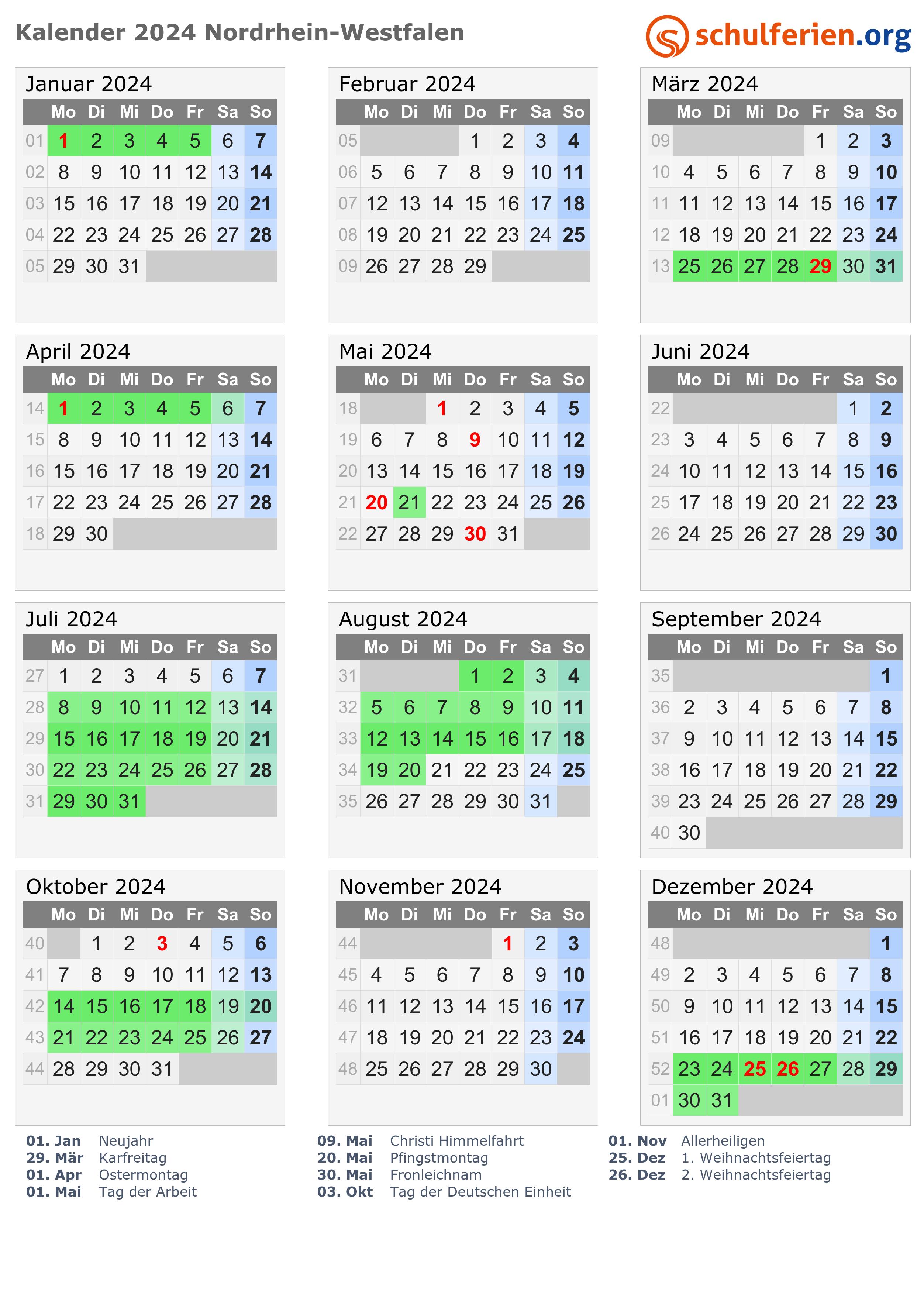 Ferien Nordrhein Westfalen 2018 Ferienkalender Ubersicht