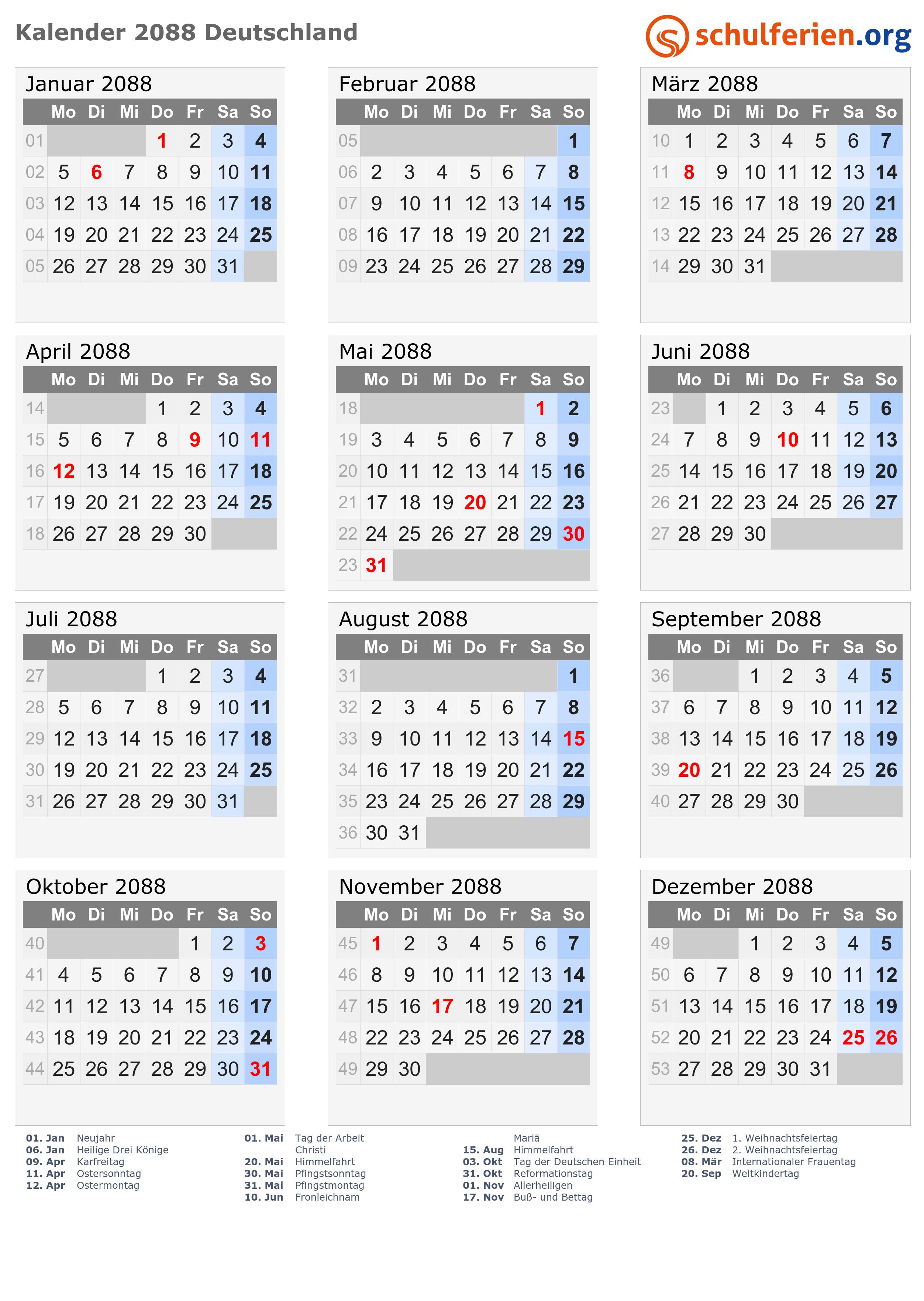 Kalender 2088 mit Feiertagen